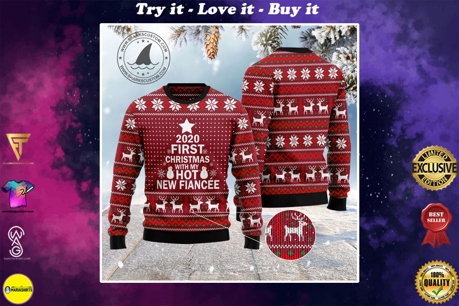 2020 first christmas with my hot new fiance ugly christmas sweater