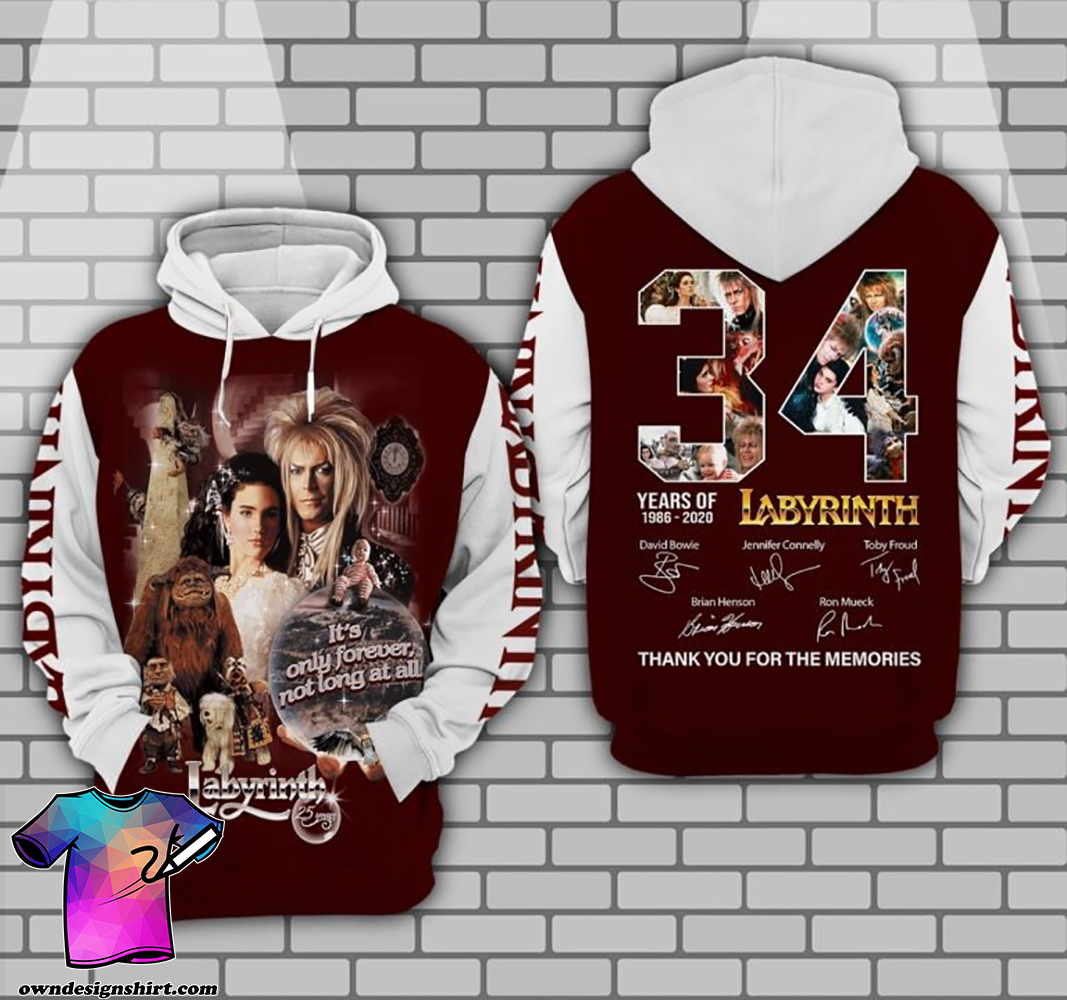 34 years of 1986 2020 labyrinth thank you for the memories full printing shirt