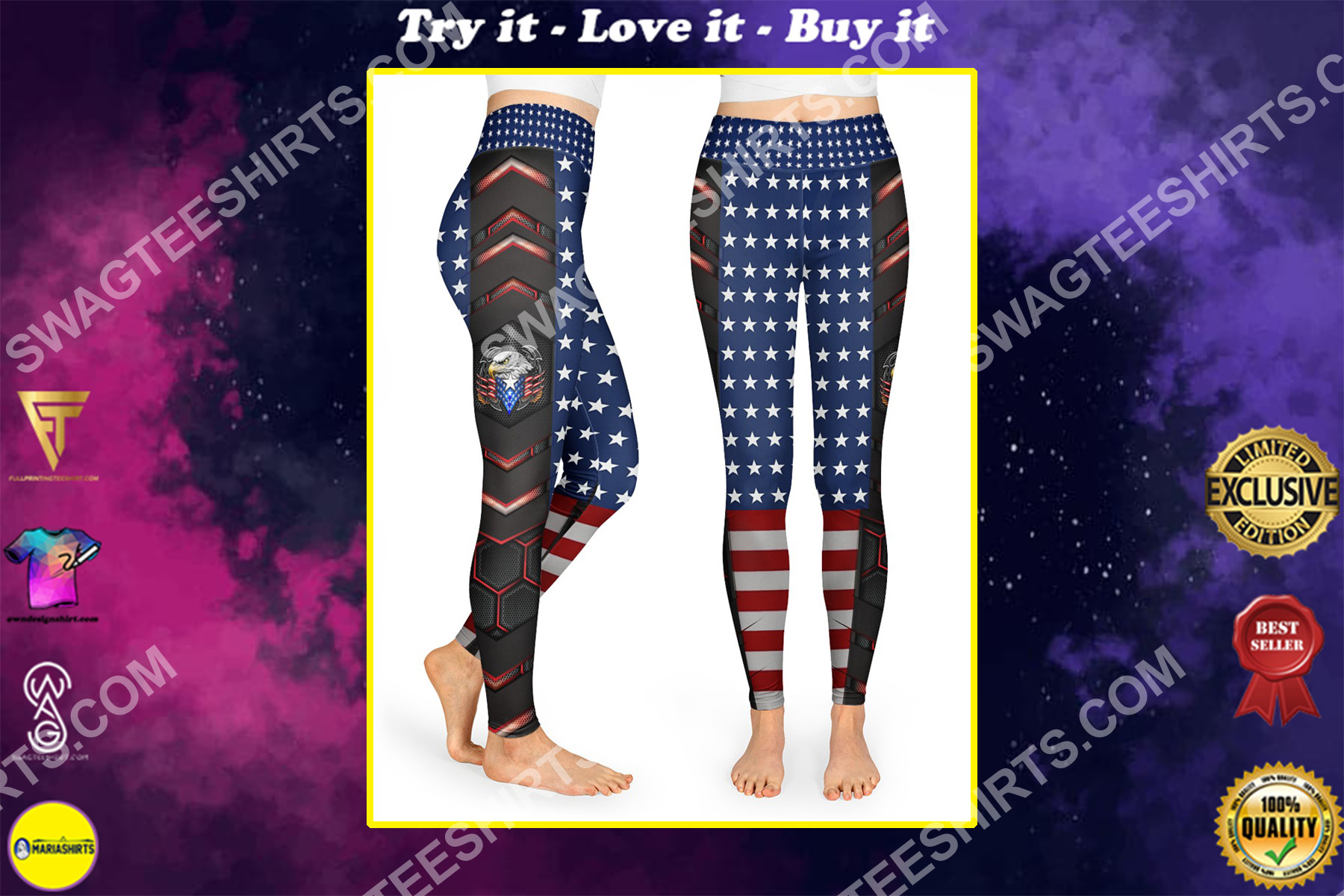 4th of july american eagle flag all over printed high waist leggings