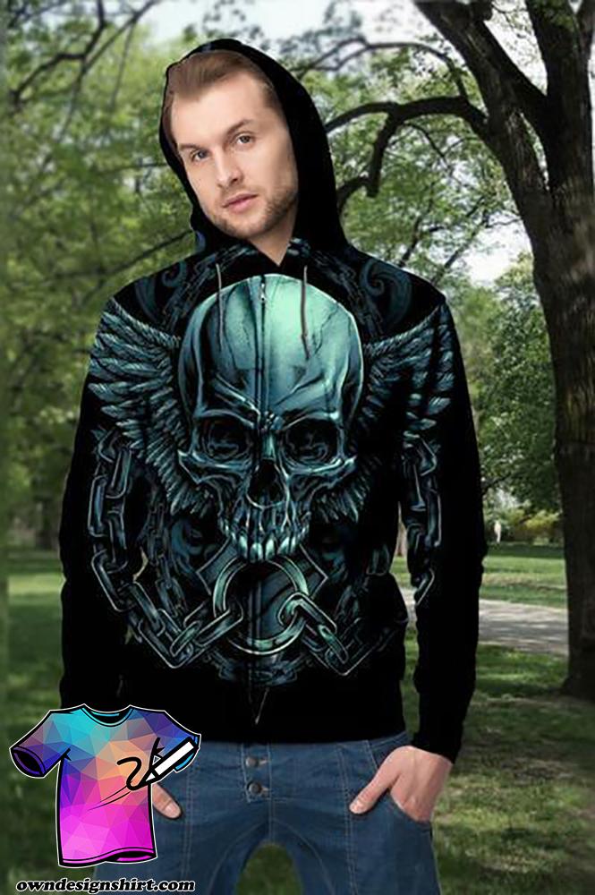 Angel wings skull full printing shirt
