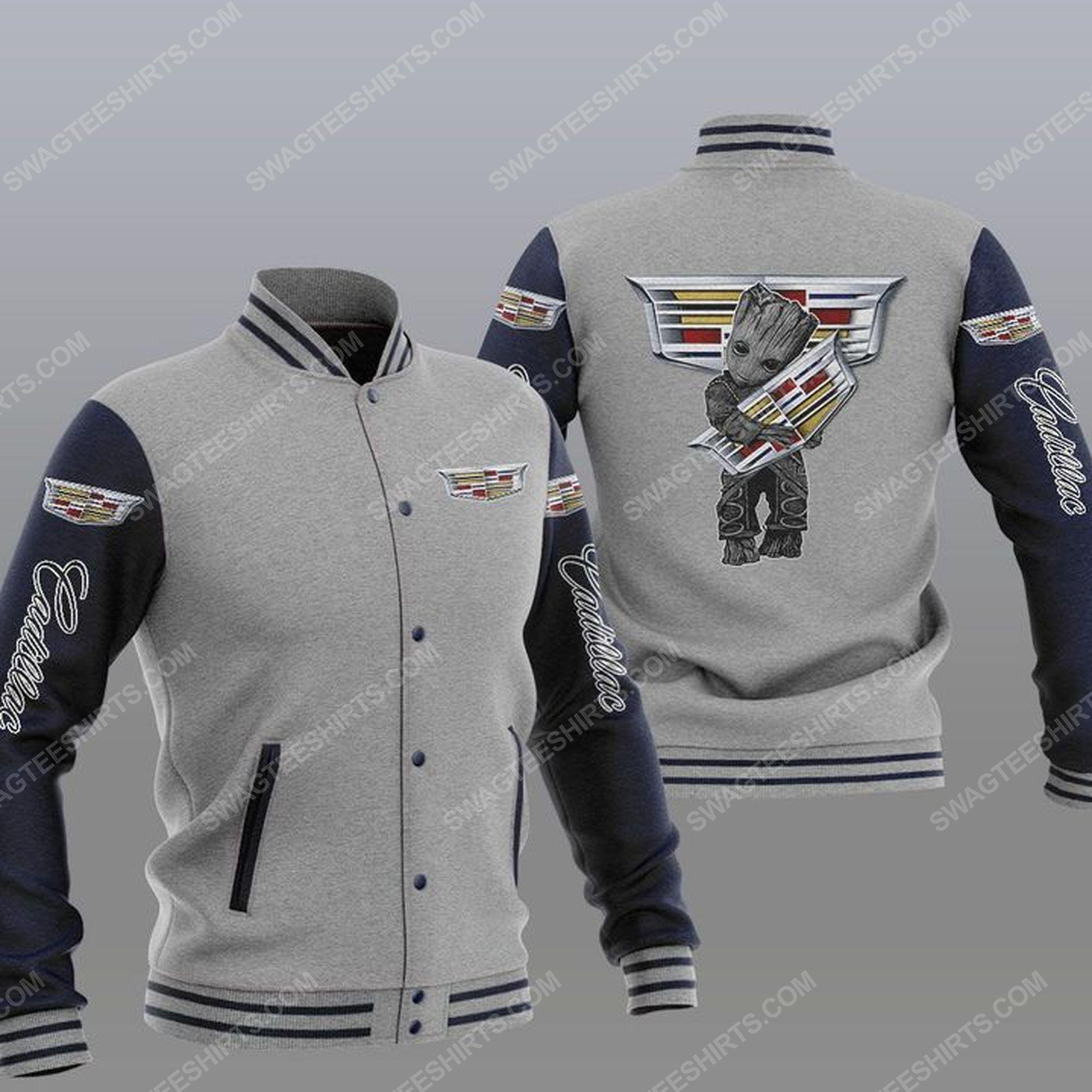 Baby groot and cadillac all over print baseball jacket - gray 1