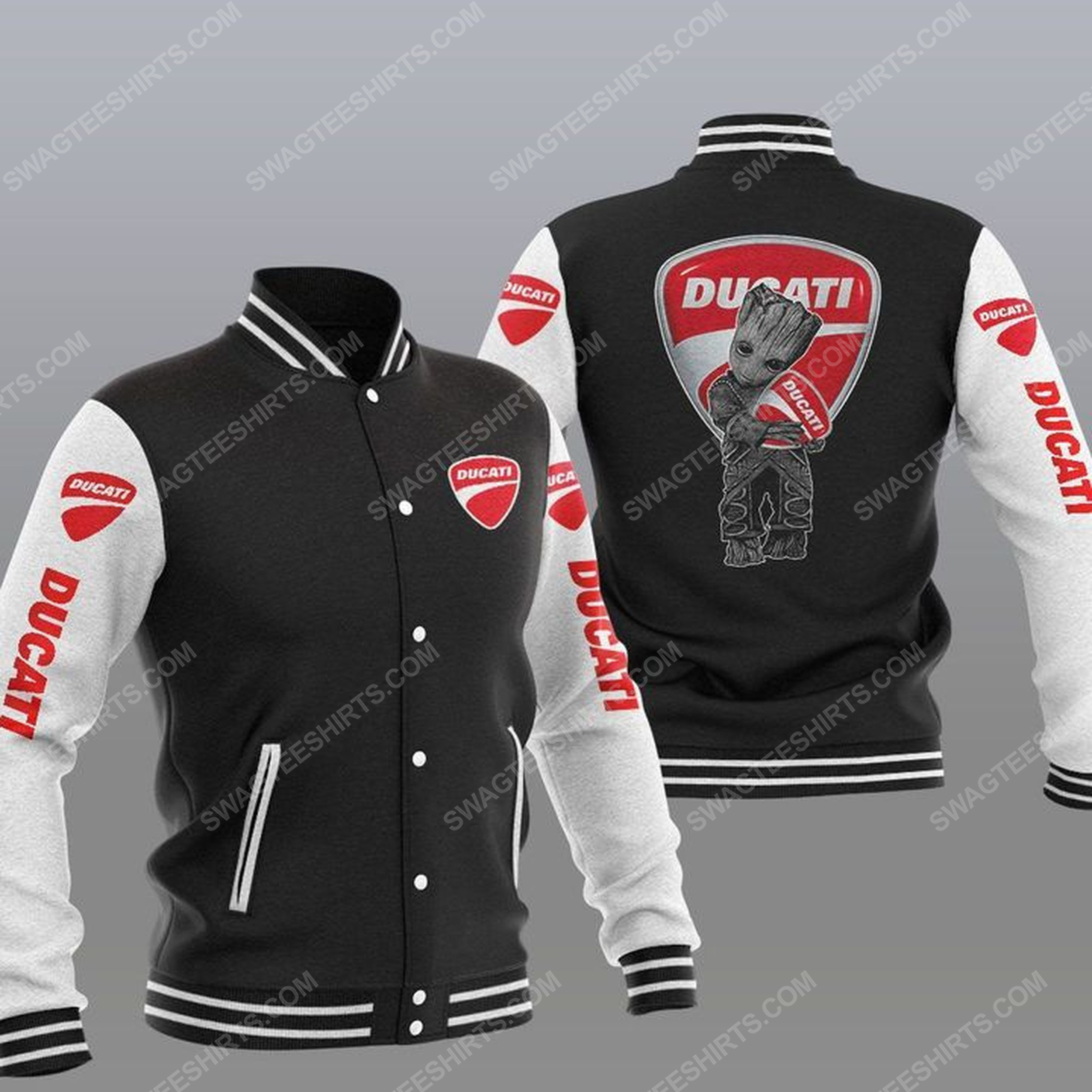Baby groot and ducati all over print baseball jacket - black 1