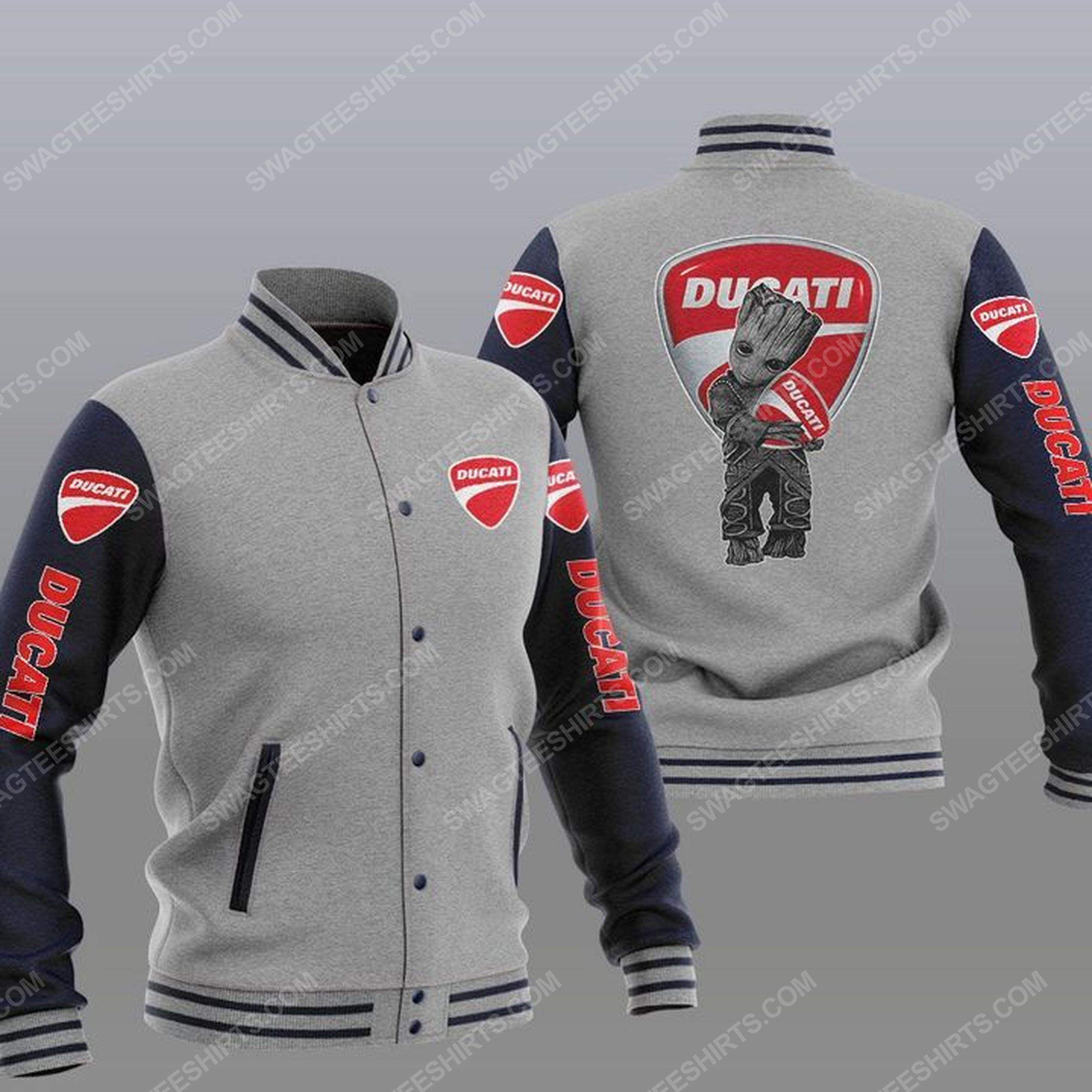 Baby groot and ducati all over print baseball jacket - gray 1