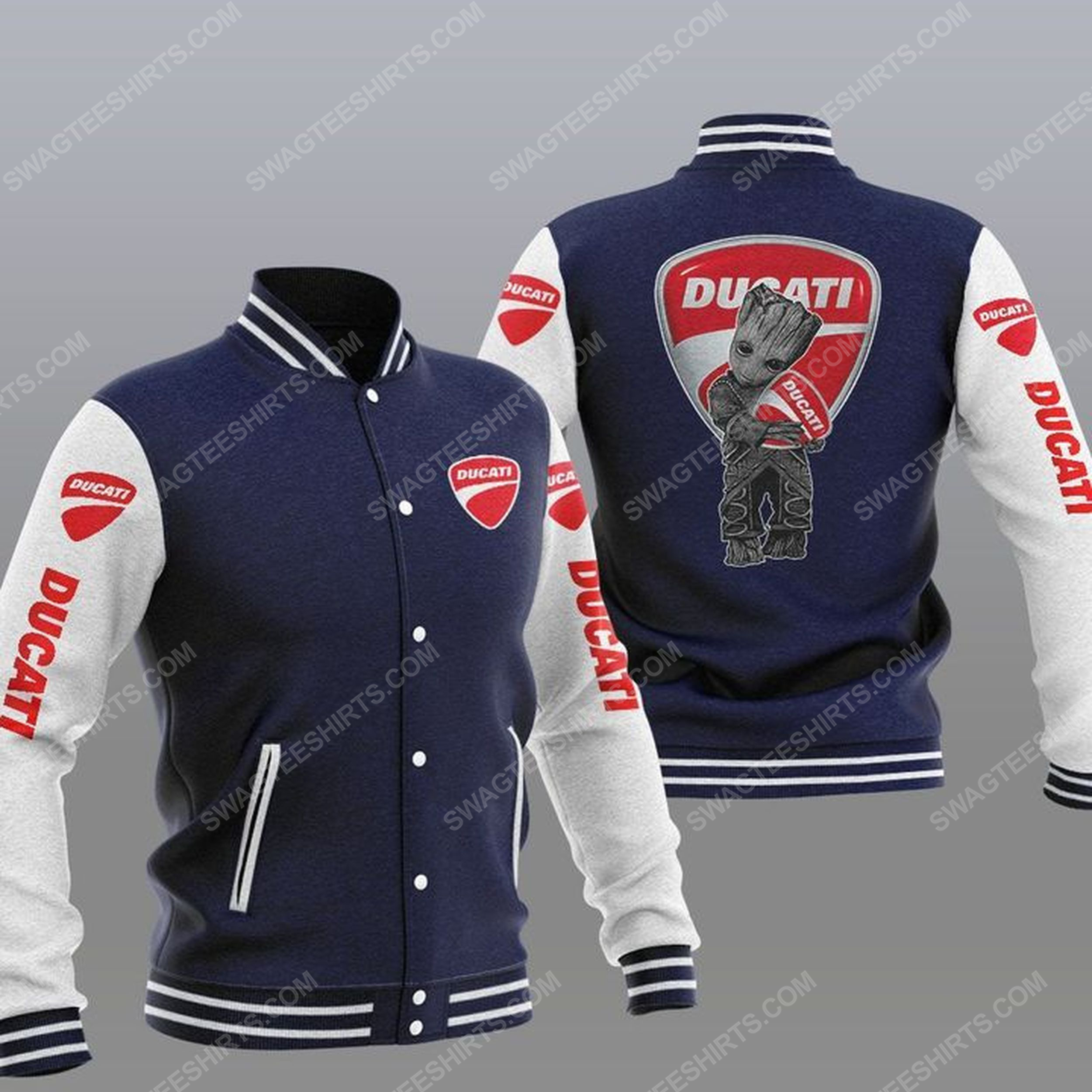 Baby groot and ducati all over print baseball jacket - navy 1