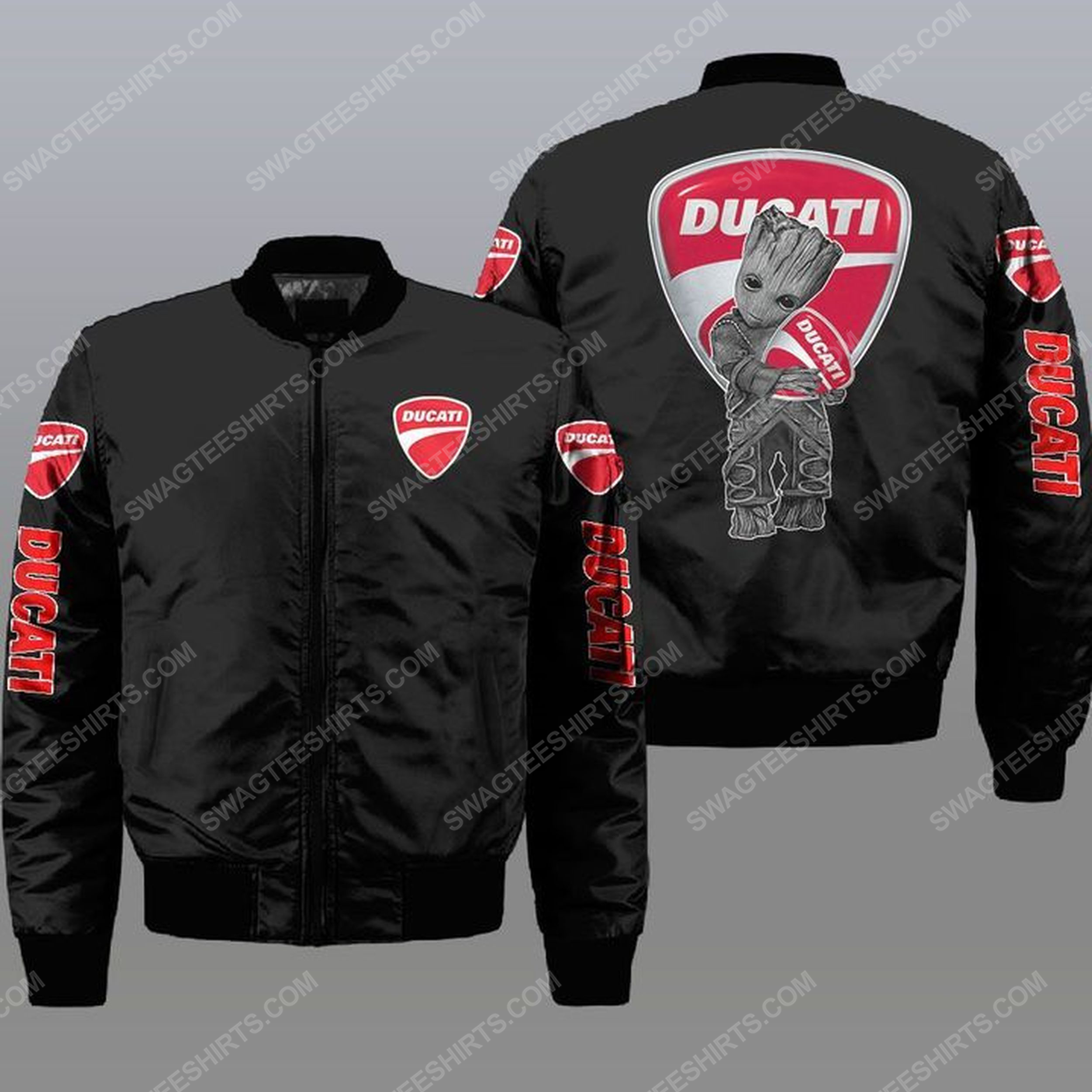 Baby groot and ducati all over print bomber jacket - black 1