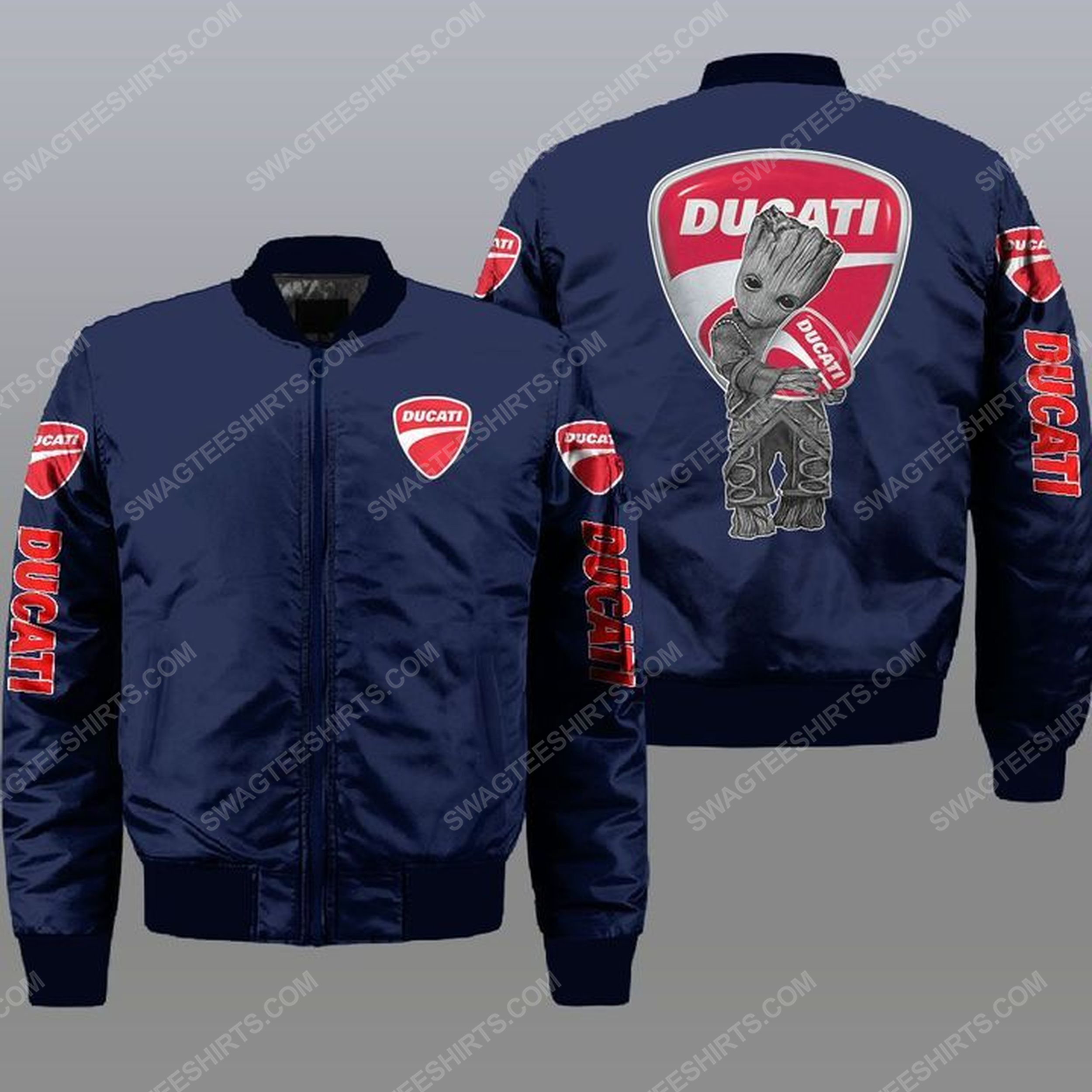 Baby groot and ducati all over print bomber jacket -navy 1