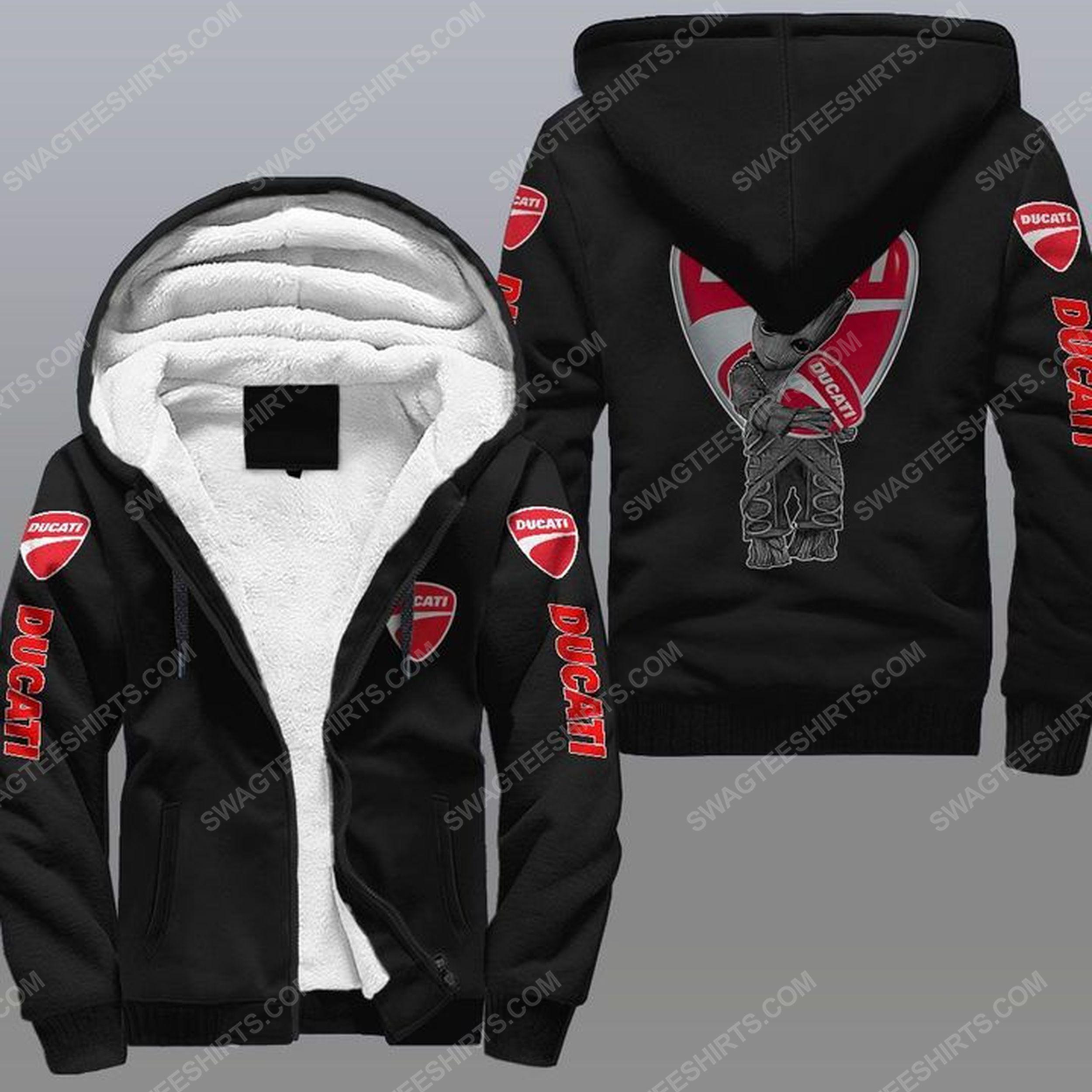 Baby groot and ducati all over print fleece hoodie - black 1