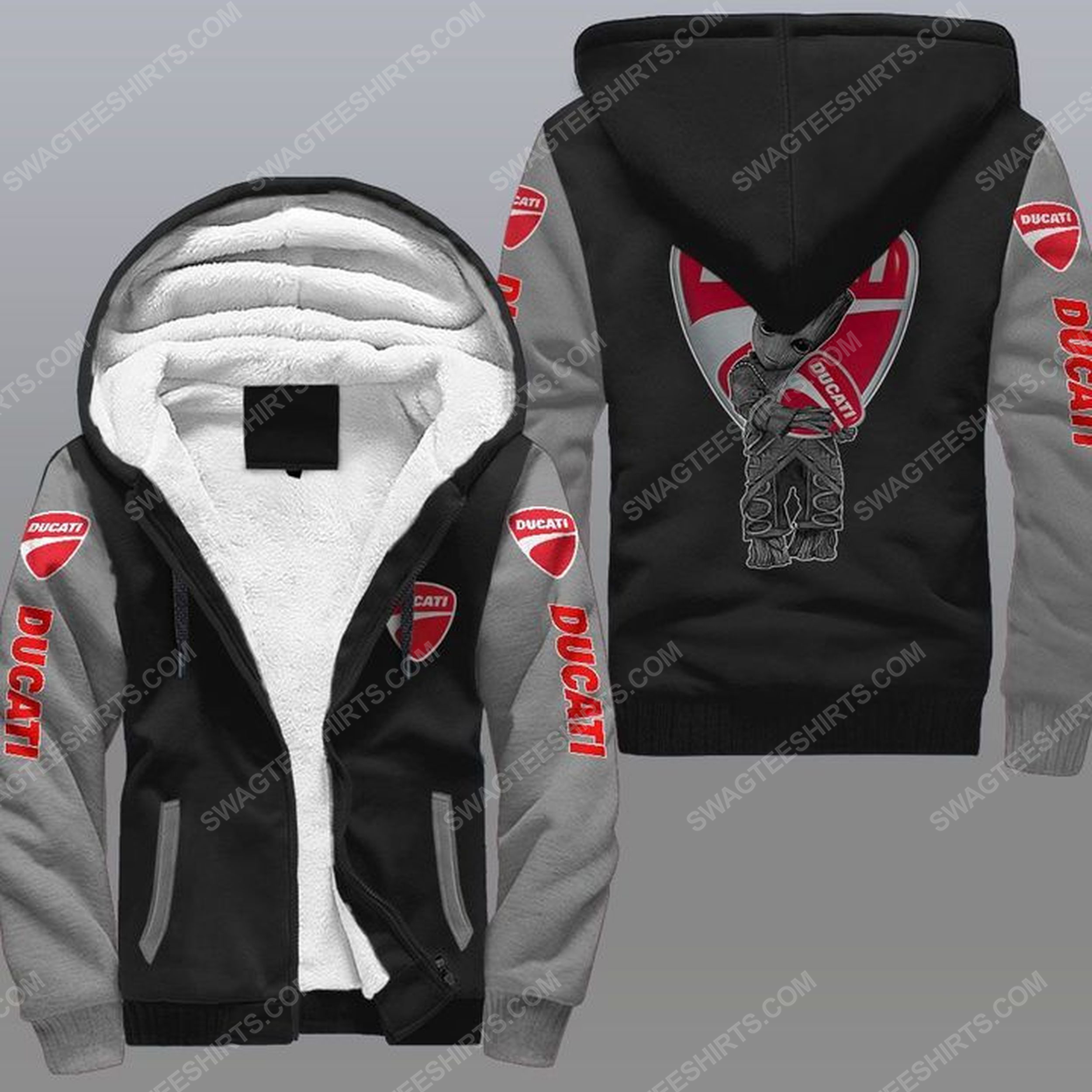 Baby groot and ducati all over print fleece hoodie - gray 1