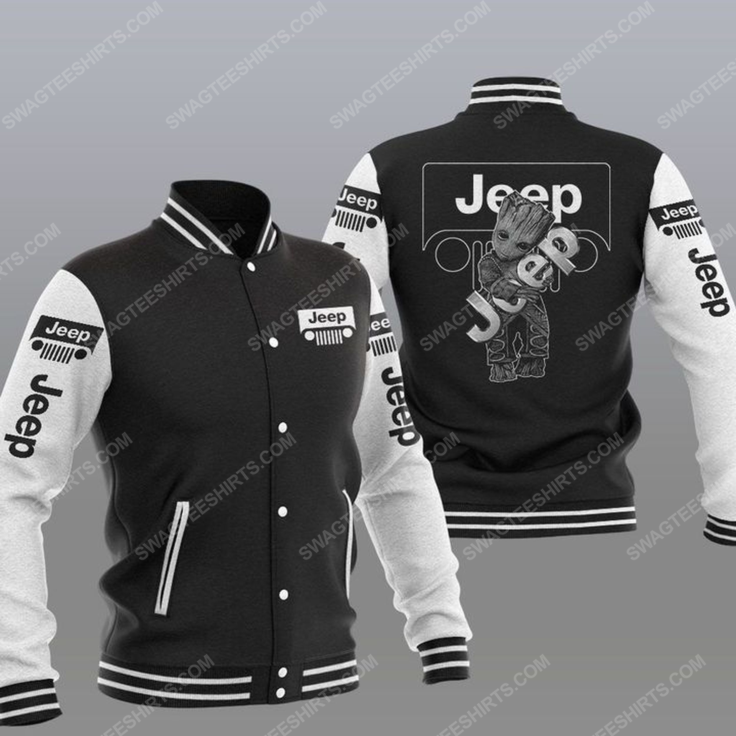 Baby groot and jeep all over print baseball jacket - black 1