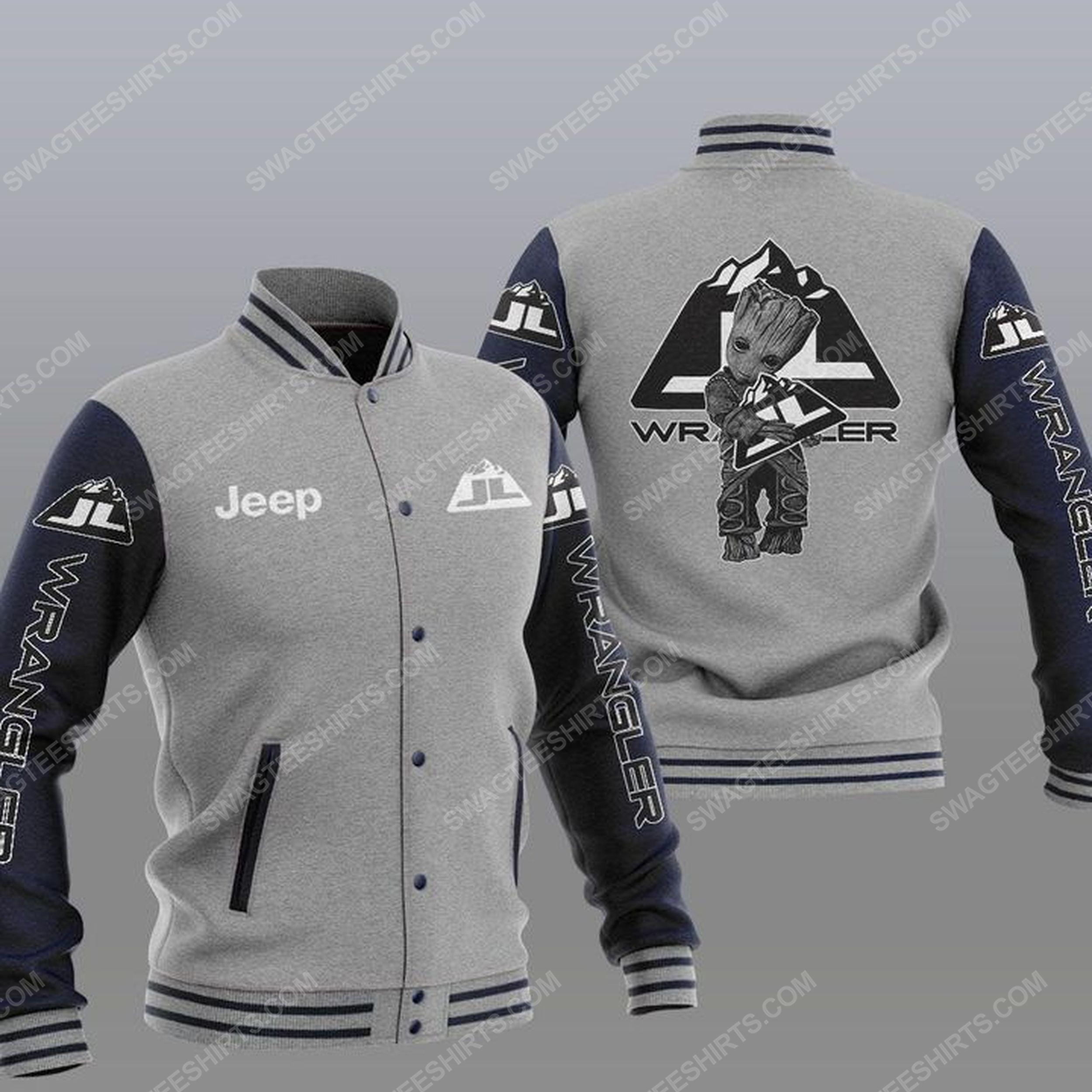 Baby groot and jeep wrangler all over print baseball jacket - gray 1