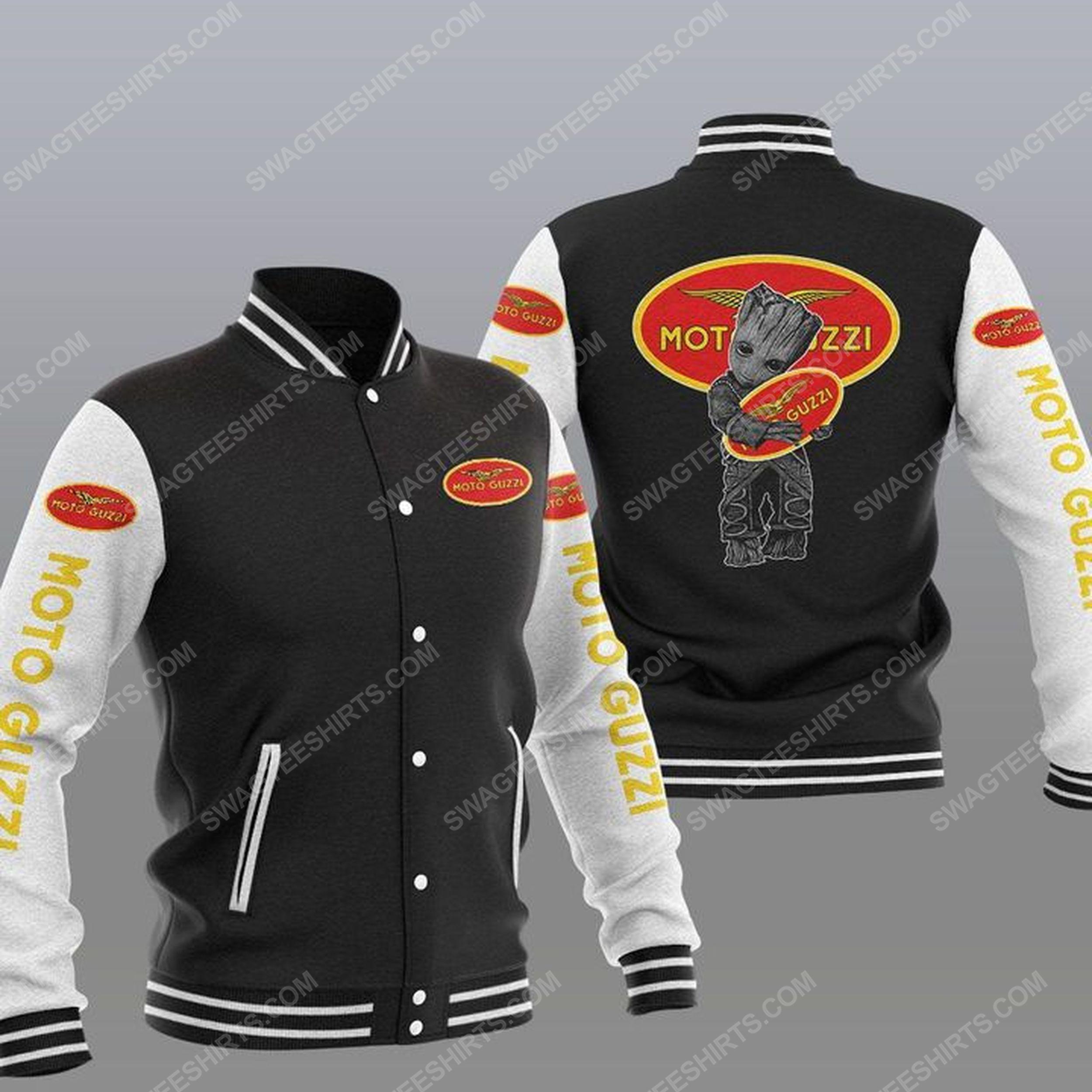 Baby groot and moto guzzi all over print baseball jacket - black 1