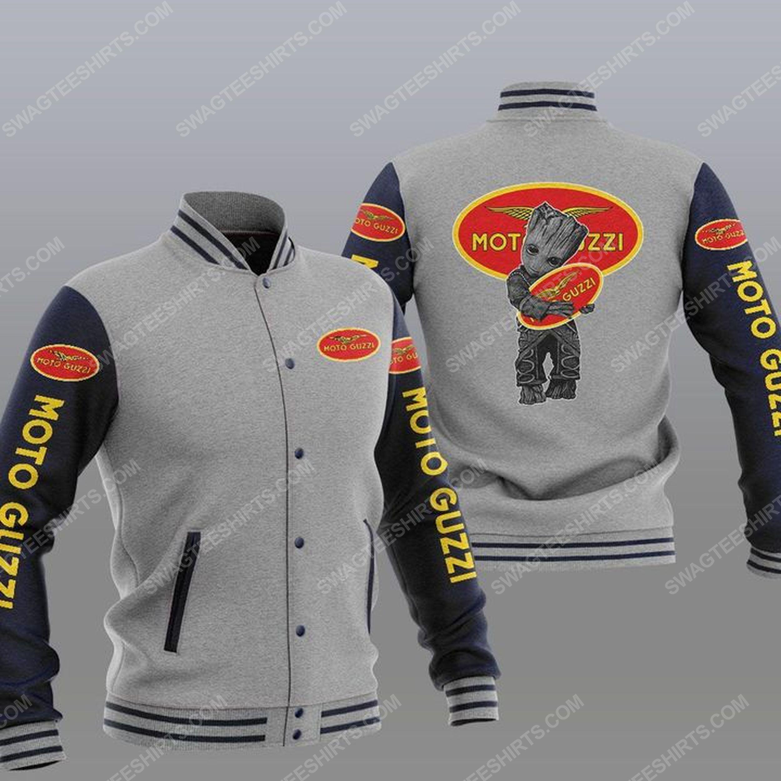 Baby groot and moto guzzi all over print baseball jacket - gray 1