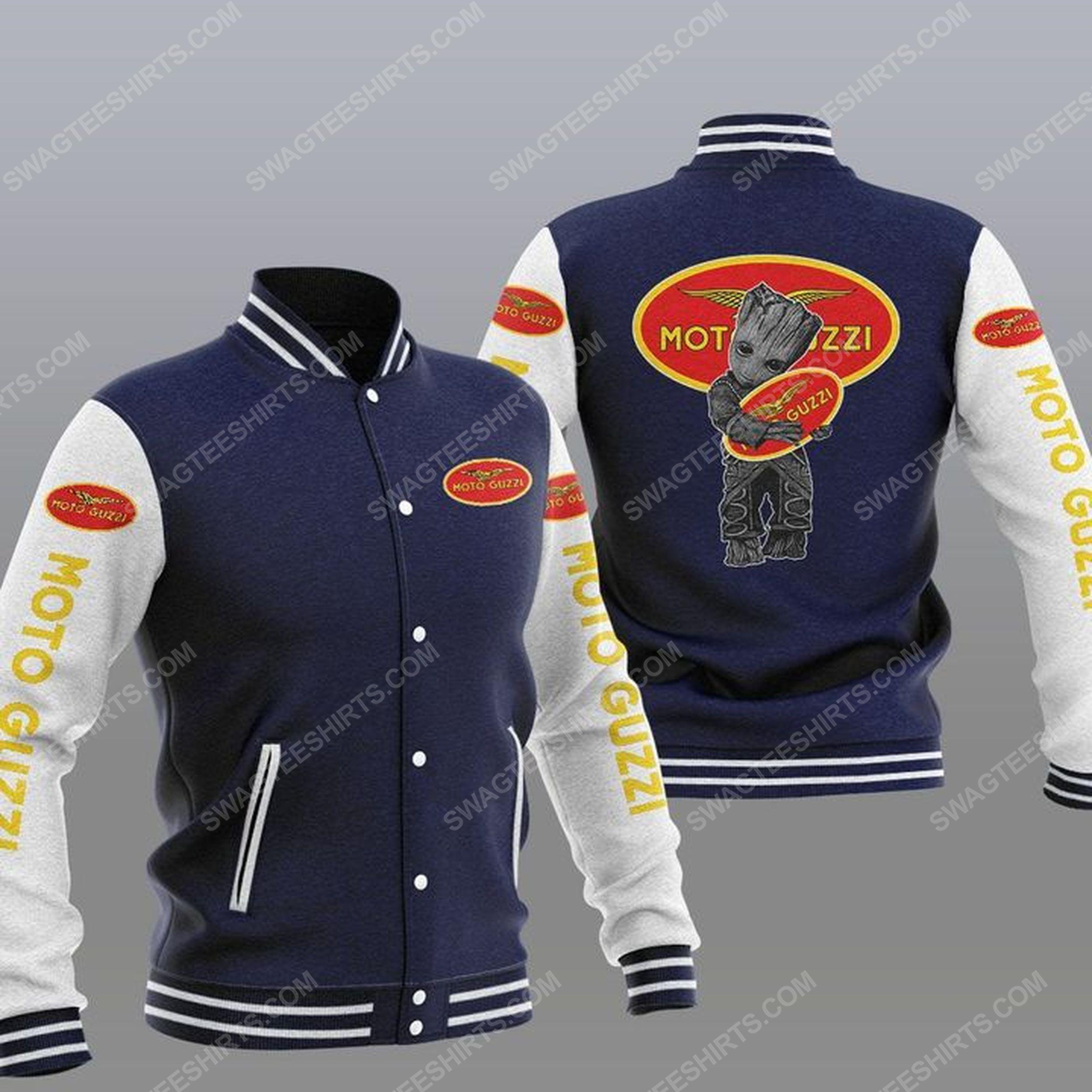 Baby groot and moto guzzi all over print baseball jacket -navy 1