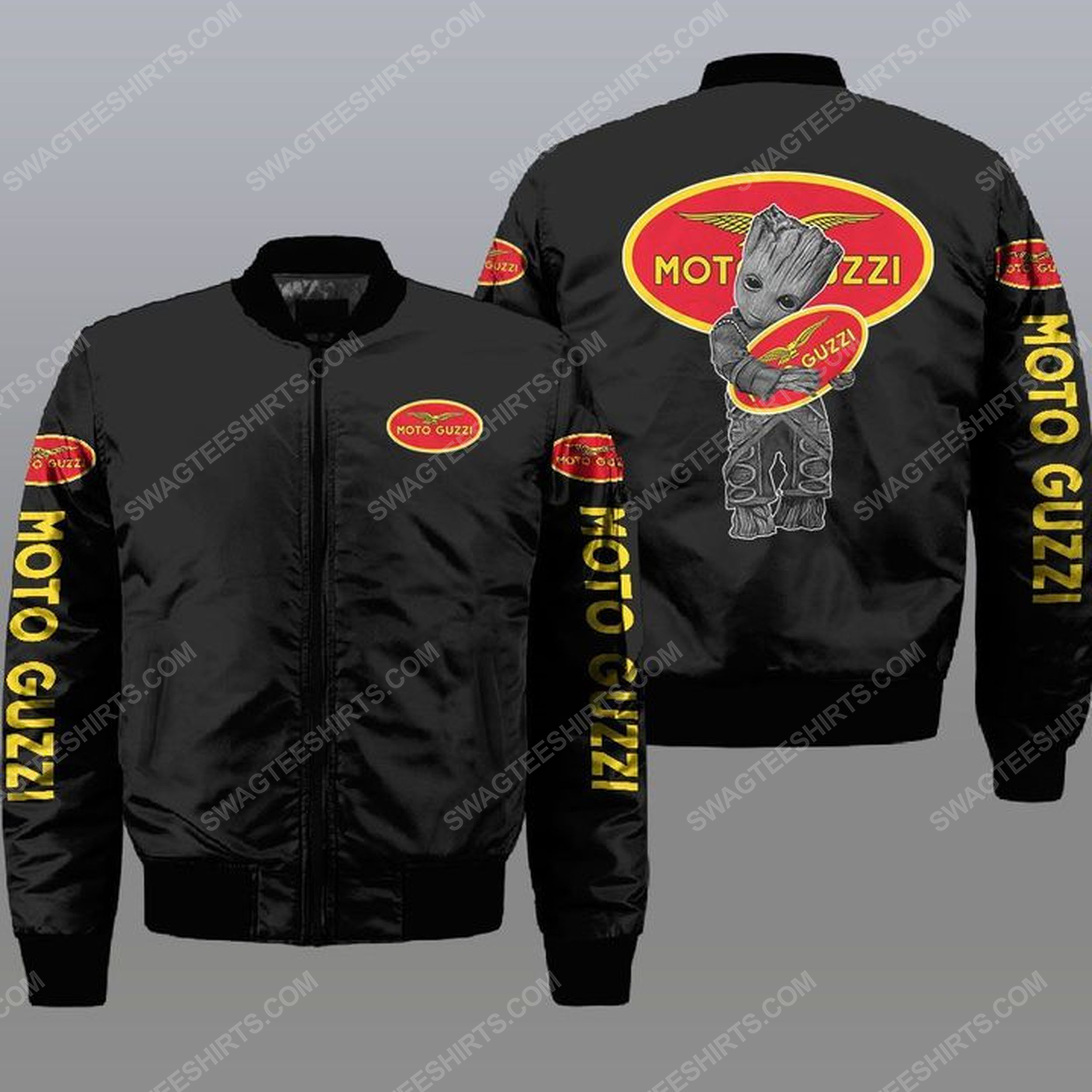 Baby groot and moto guzzi all over print bomber jacket - black 1