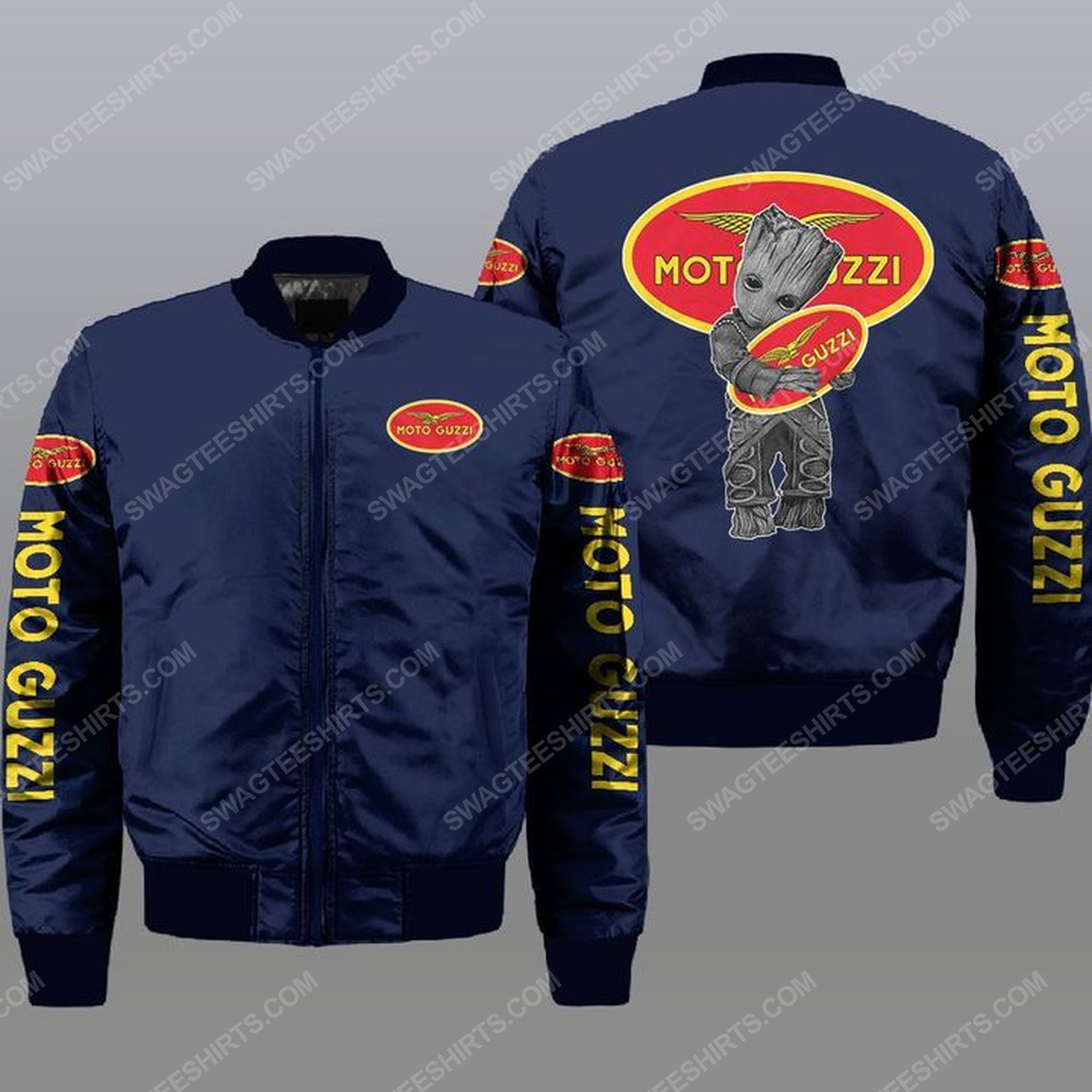 Baby groot and moto guzzi all over print bomber jacket -navy 1