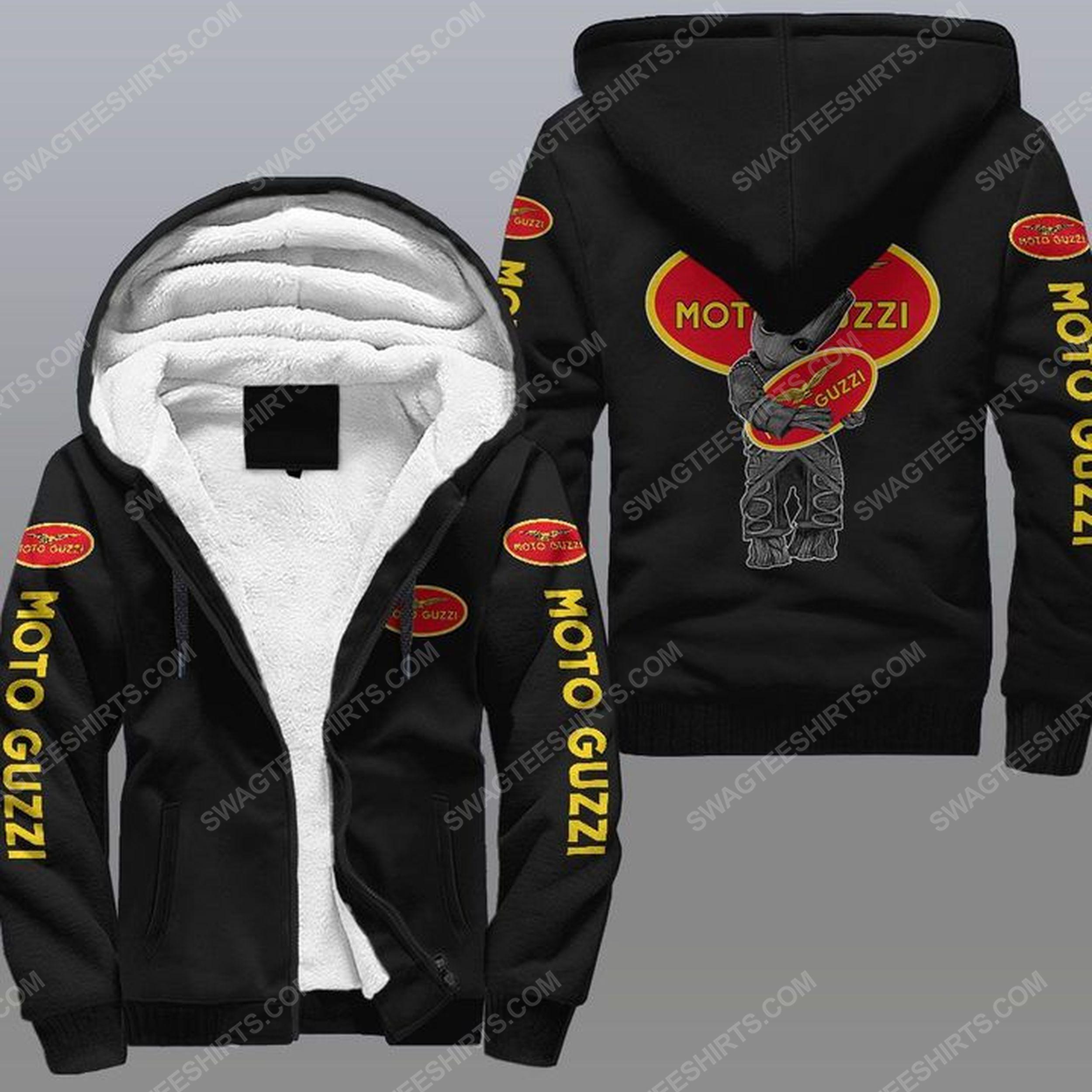 Baby groot and moto guzzi all over print fleece hoodie - black 1