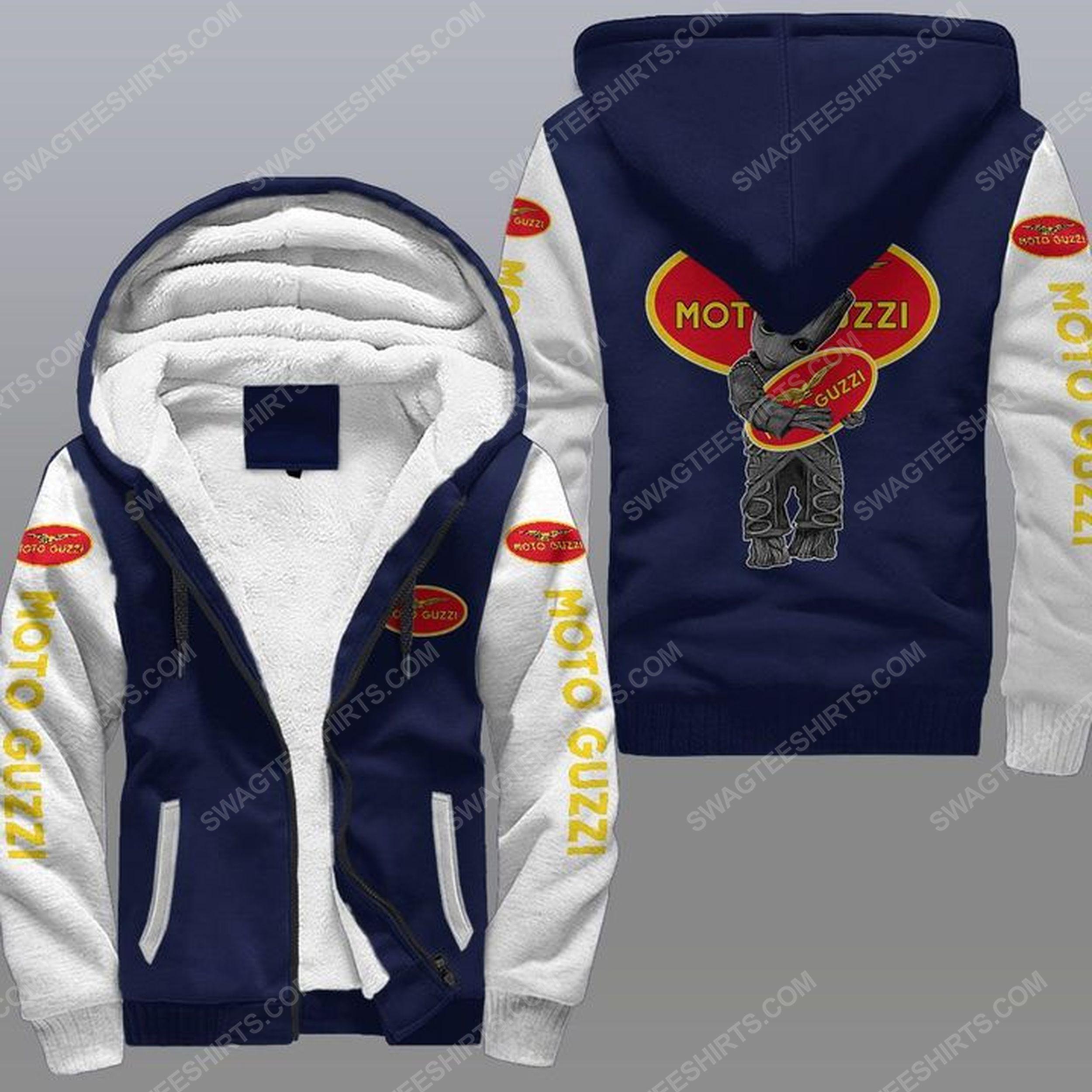 Baby groot and moto guzzi all over print fleece hoodie - navy 1