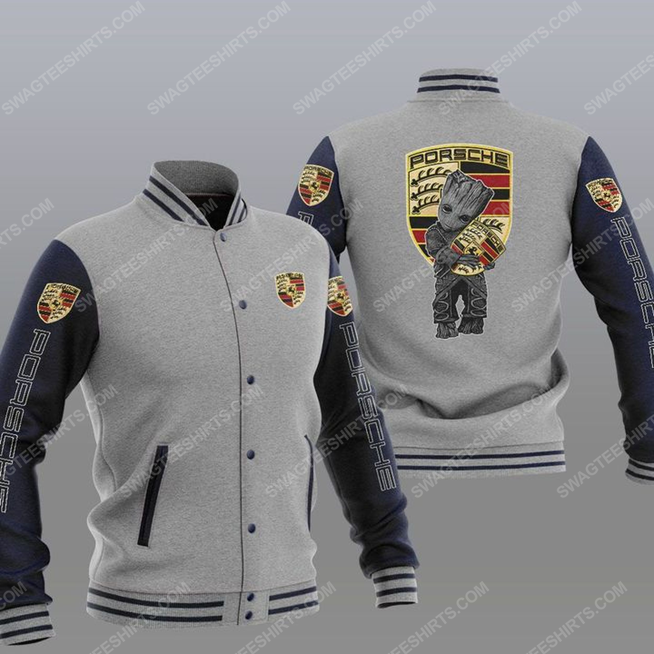 Baby groot and porsche all over print baseball jacket - gray 1