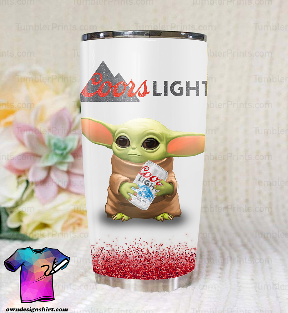 Baby yoda coors light all over print tumbler