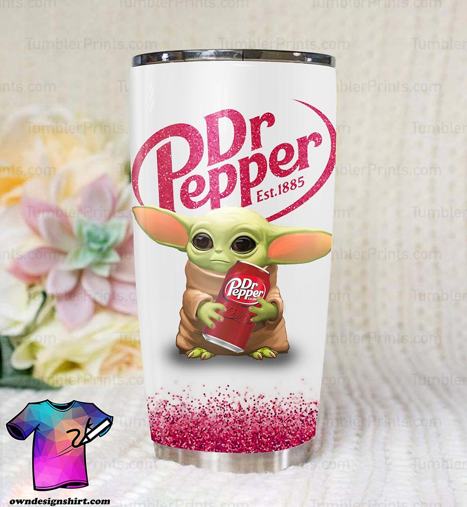Baby yoda dr pepper full over print tumbler