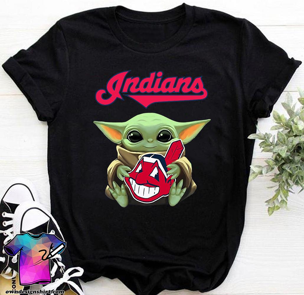 Baby yoda hug cleveland indians shirt