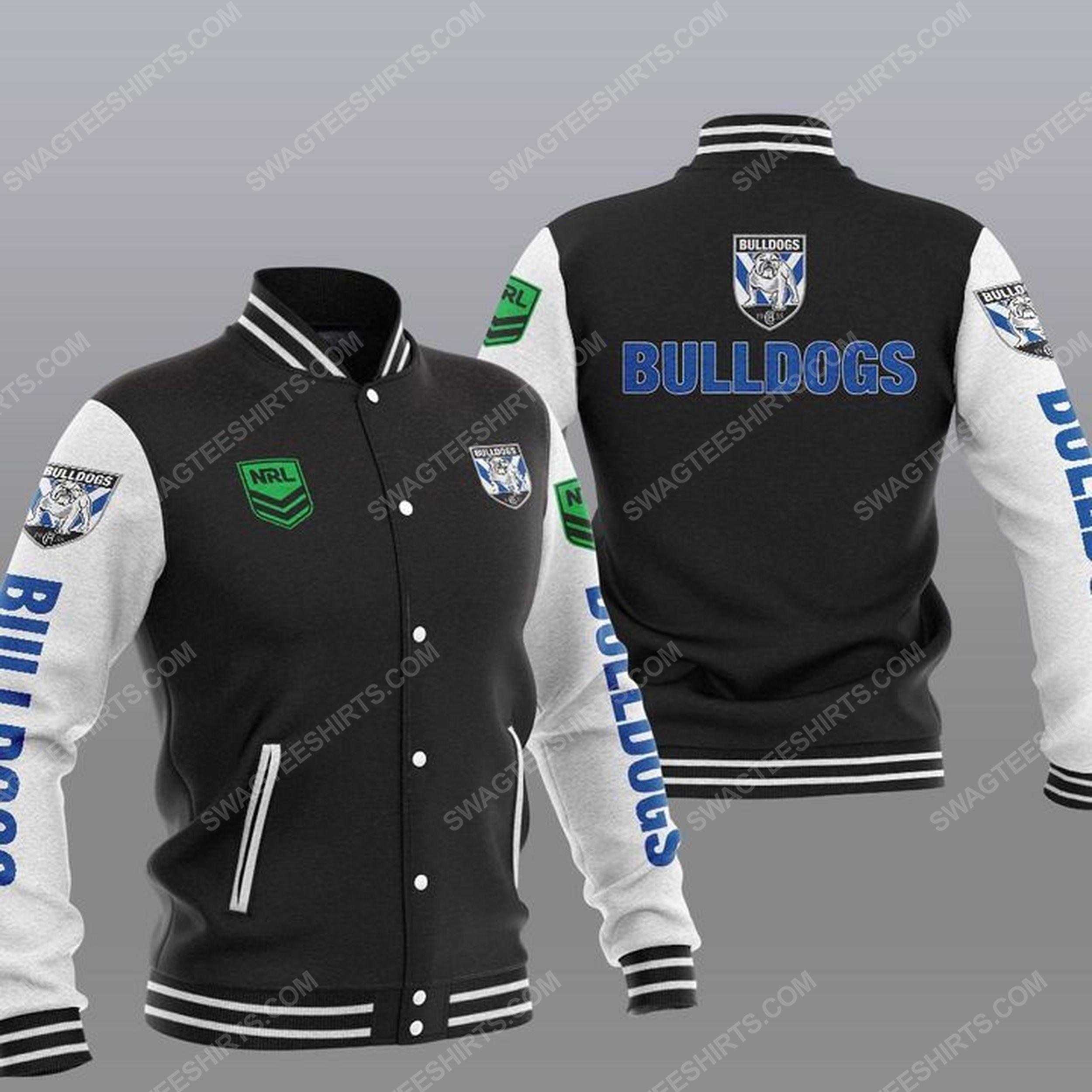 Canterbury-bankstown bulldogs all over print baseball jacket - black 1