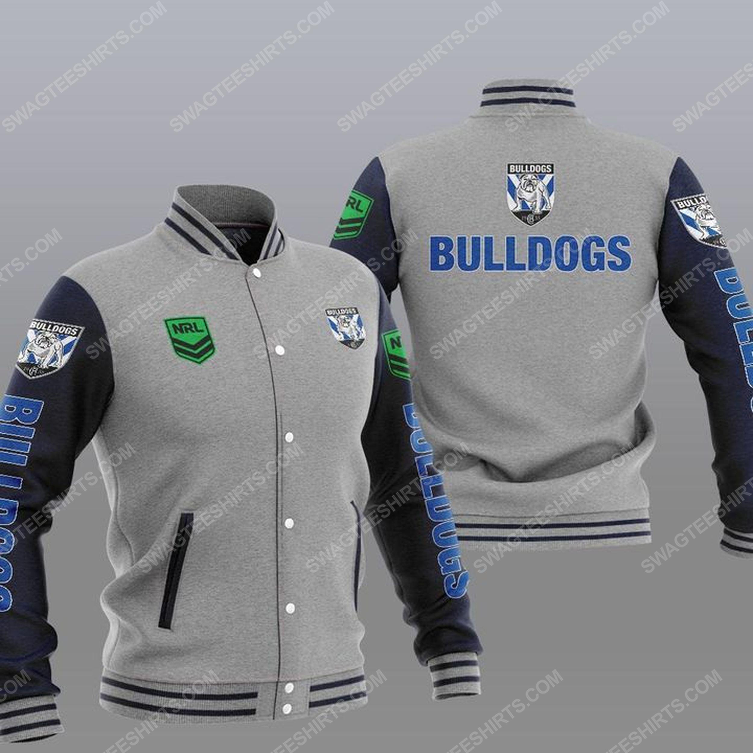 Canterbury-bankstown bulldogs all over print baseball jacket - gray 1
