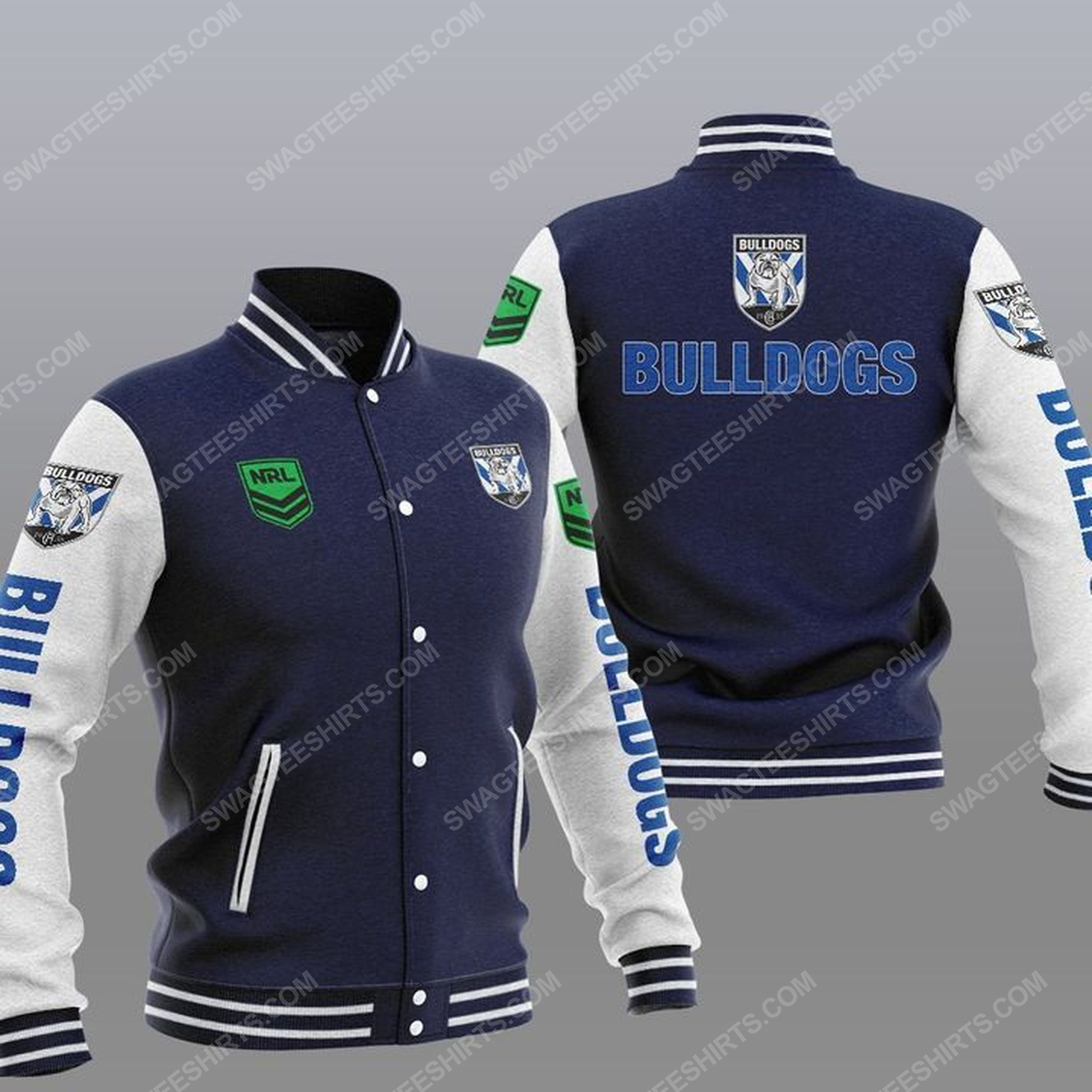 Canterbury-bankstown bulldogs all over print baseball jacket - navy 1