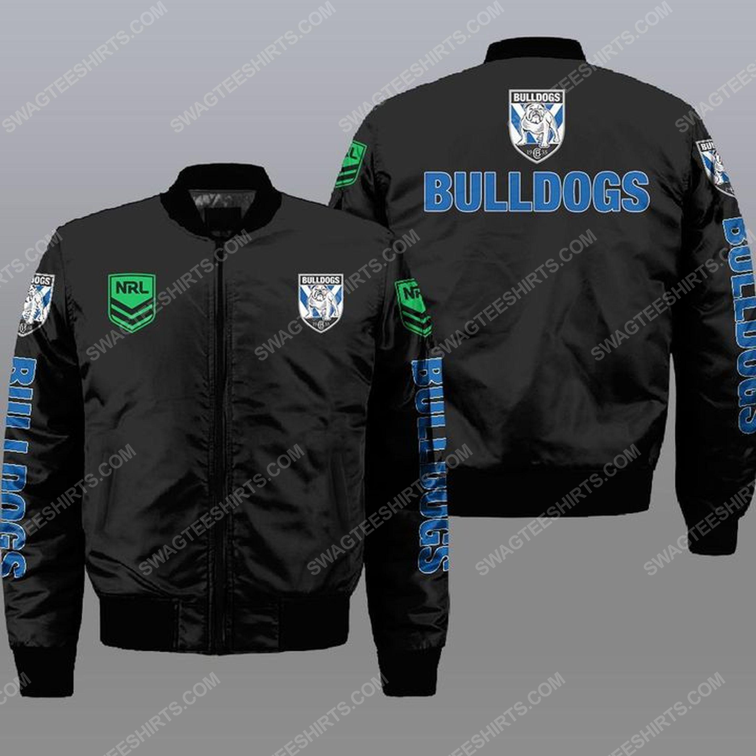 Canterbury-bankstown bulldogs all over print bomber jacket - black 1