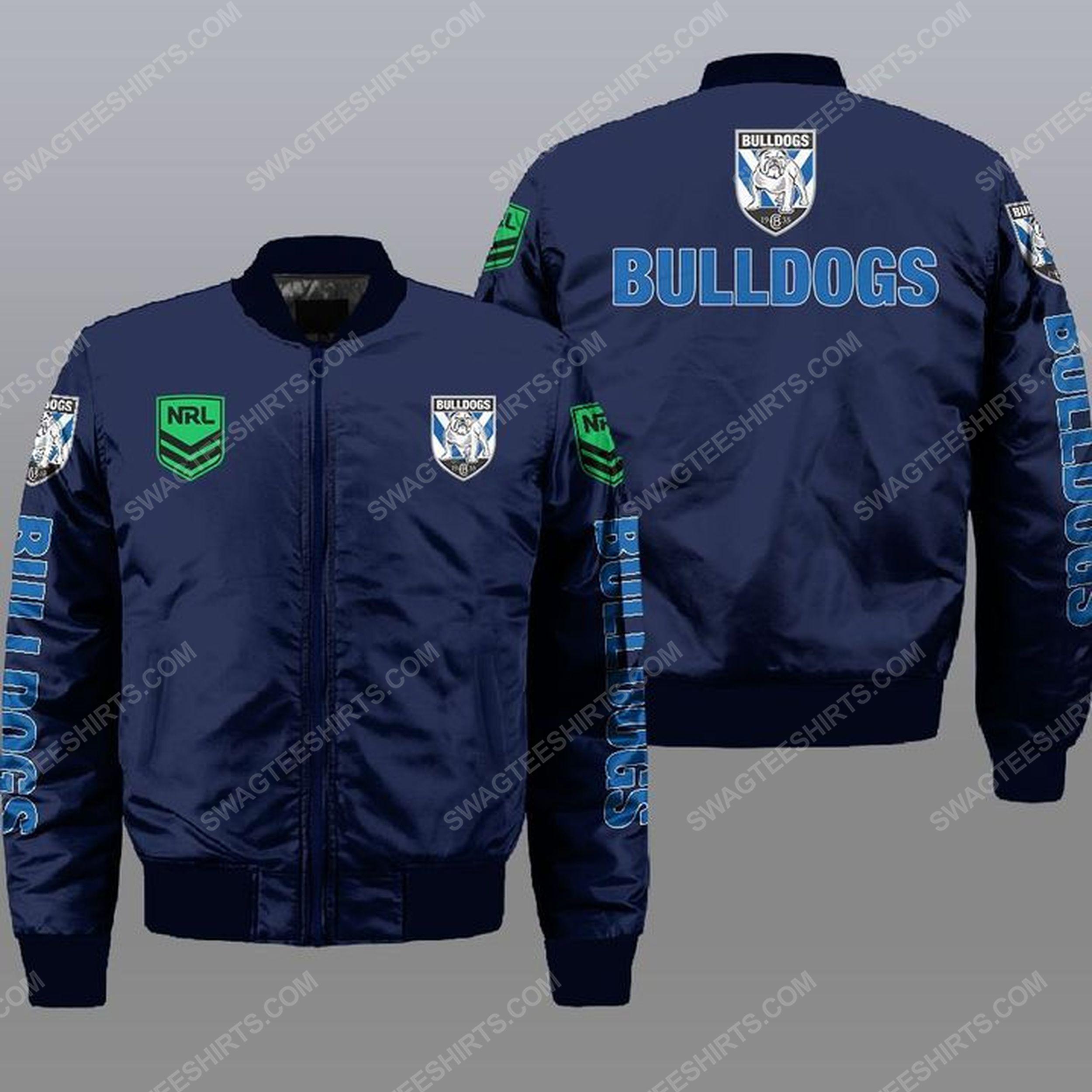 Canterbury-bankstown bulldogs all over print bomber jacket -navy 1