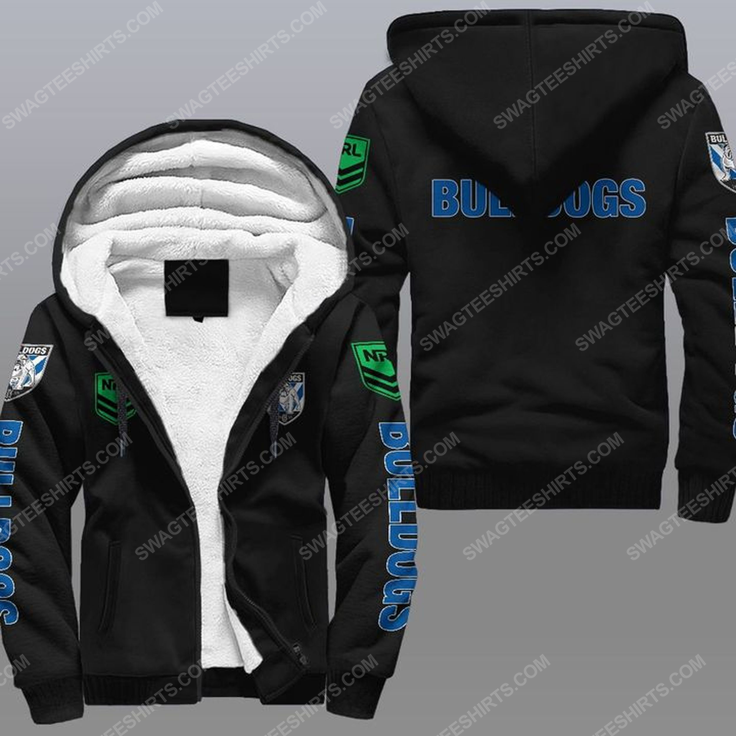 Canterbury-bankstown bulldogs all over print fleece hoodie - black 1