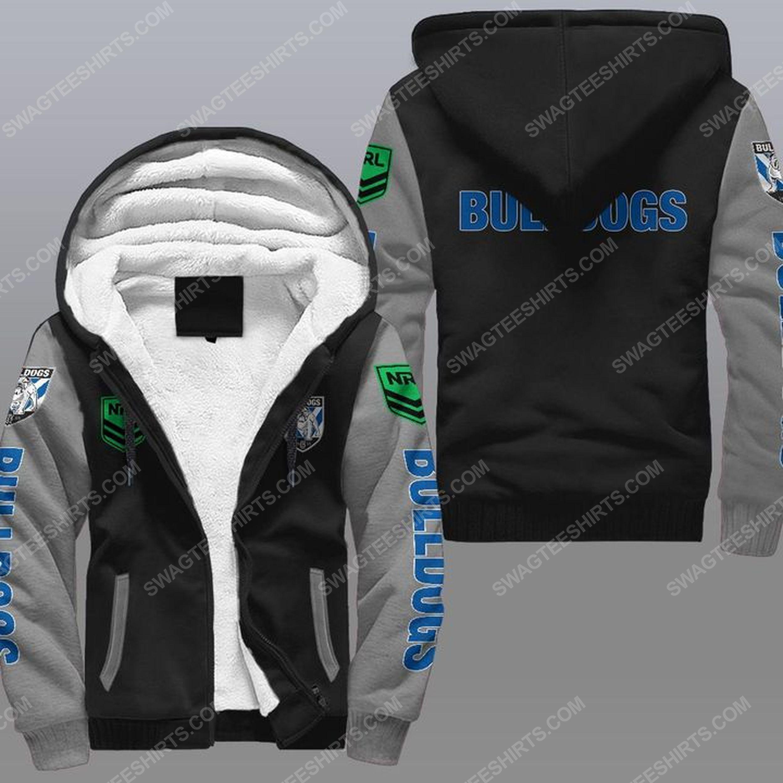 Canterbury-bankstown bulldogs all over print fleece hoodie - gray 1