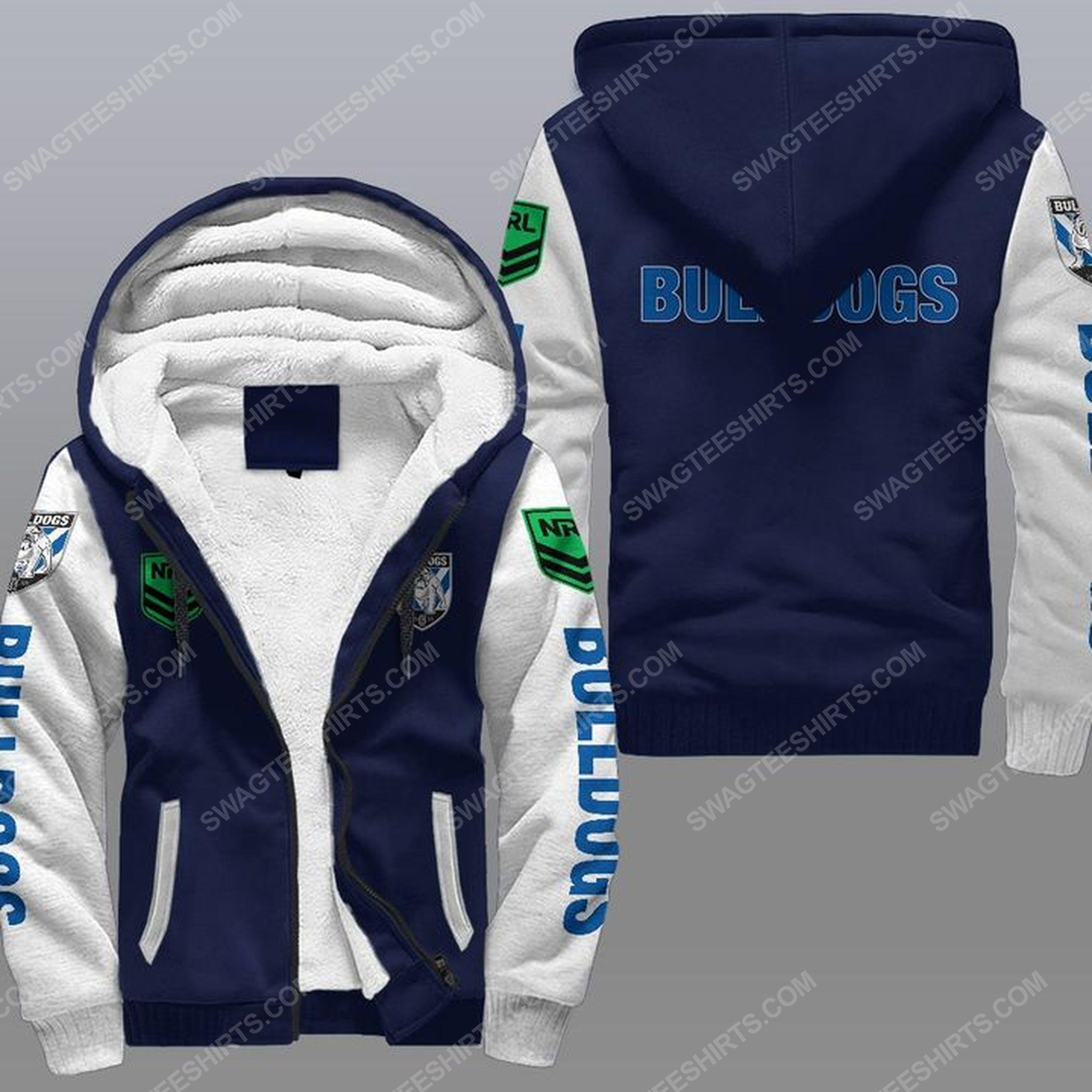 Canterbury-bankstown bulldogs all over print fleece hoodie - navy 1