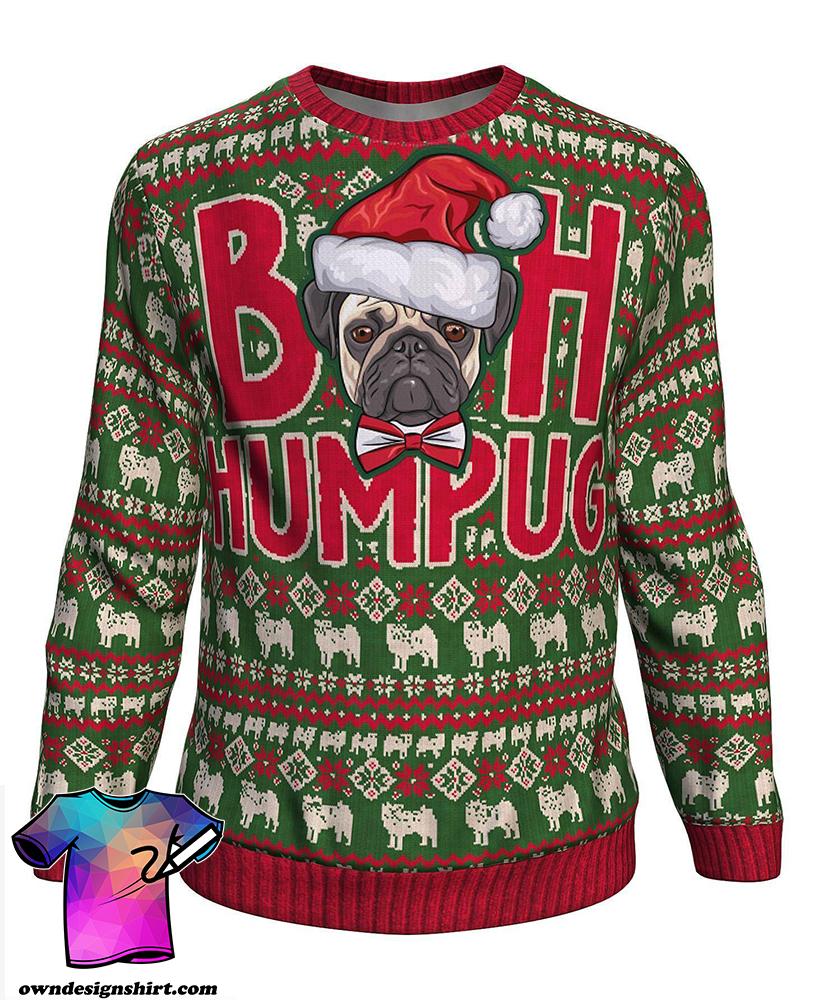 Christmas bah humpug all over print sweater