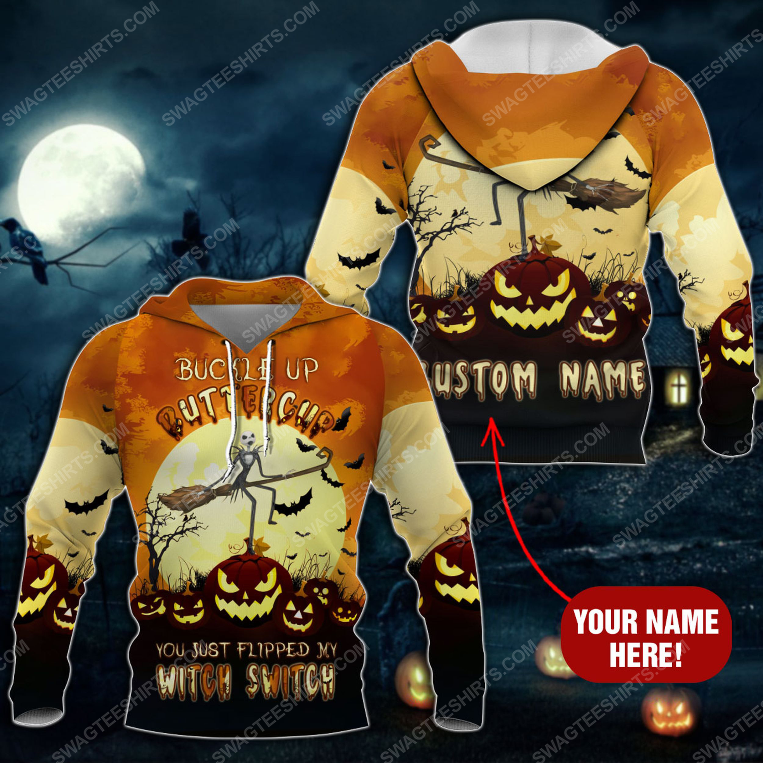 Custom buckle up buttercup you just flipped my witch switch pumpkin halloween shirt 2(1)