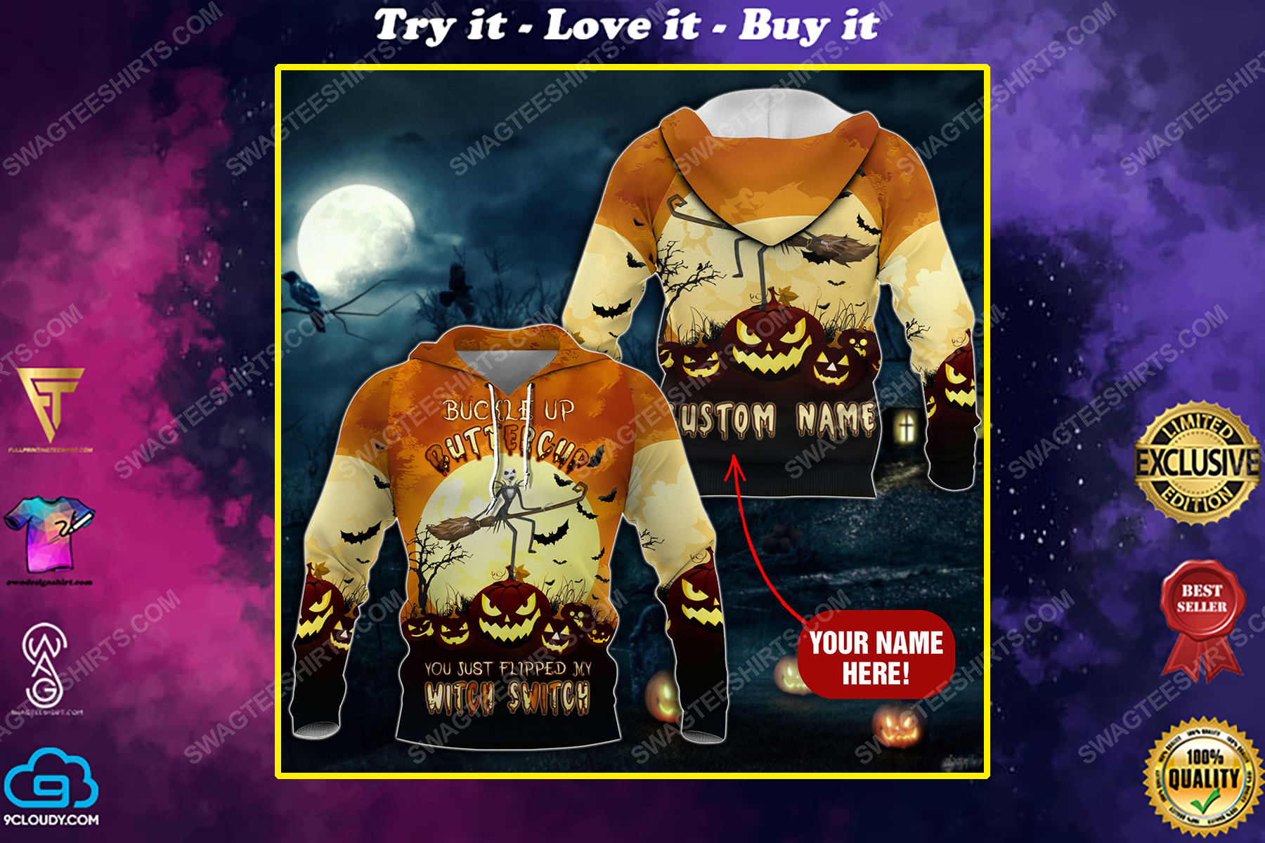 Custom buckle up buttercup you just flipped my witch switch pumpkin halloween shirt