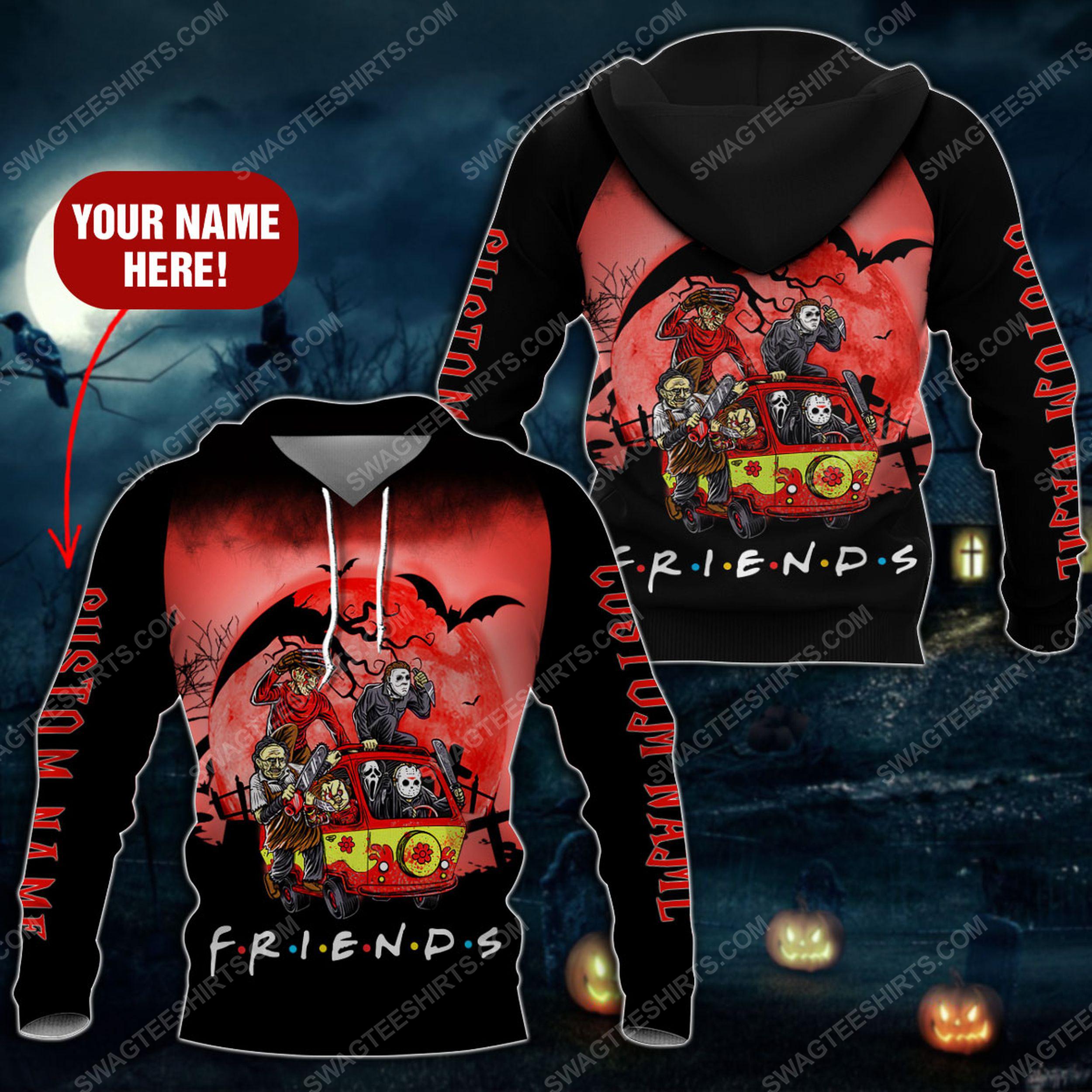 Custom halloween horror movie villains friends tv show full printing shirt 2(1)