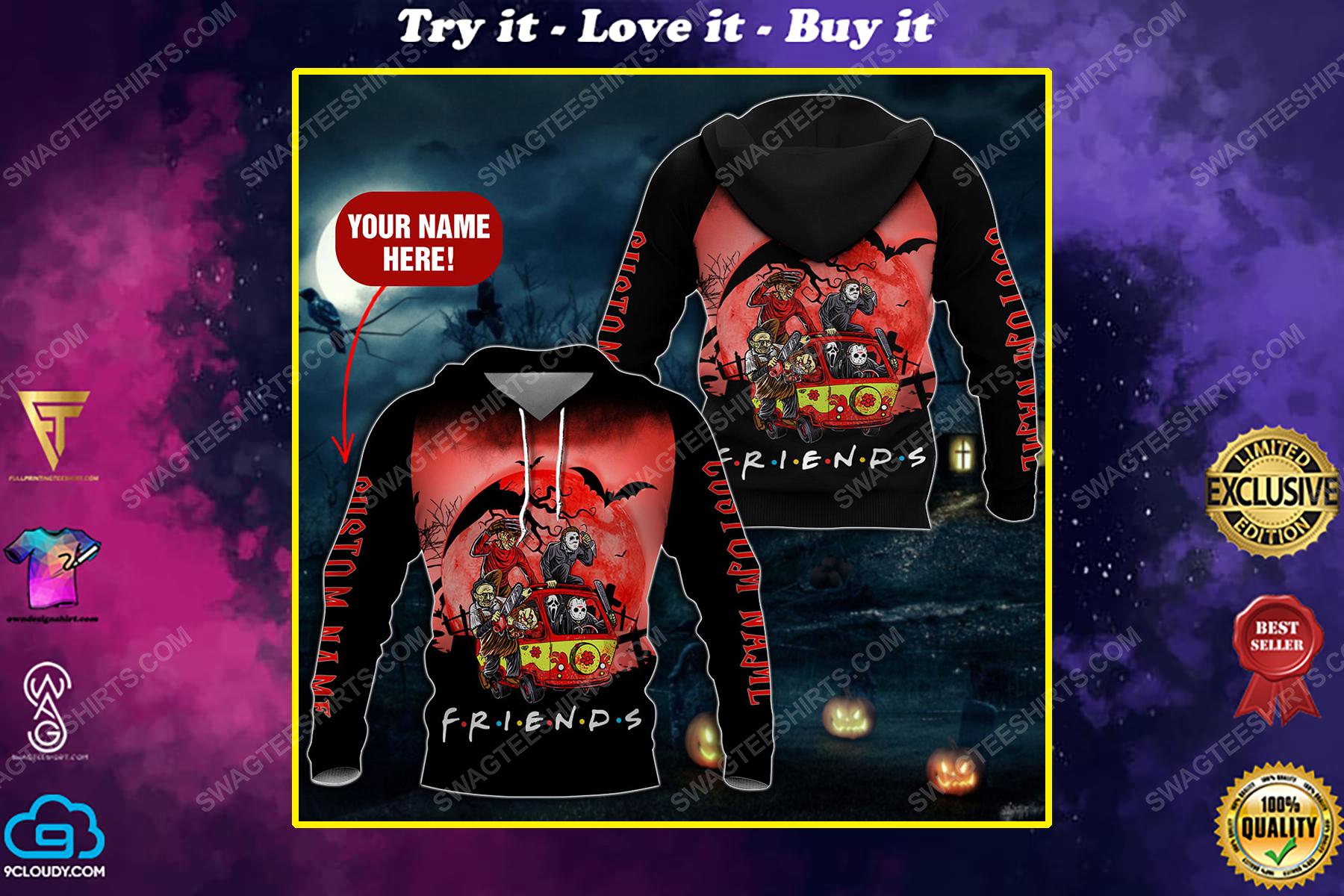 Custom halloween horror movie villains friends tv show full printing shirt