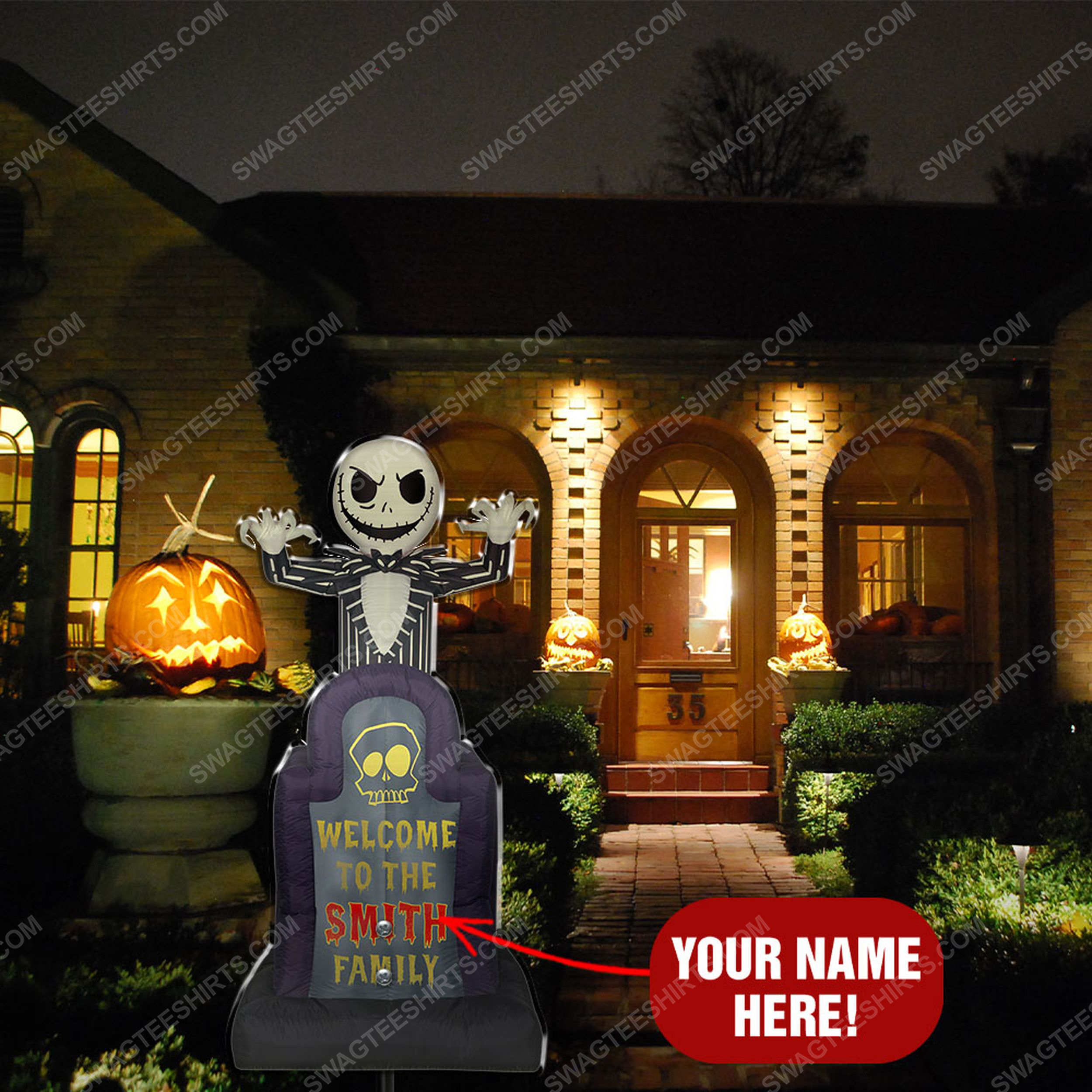 Custom jack skellington welcome to the family yard sign 2(1)