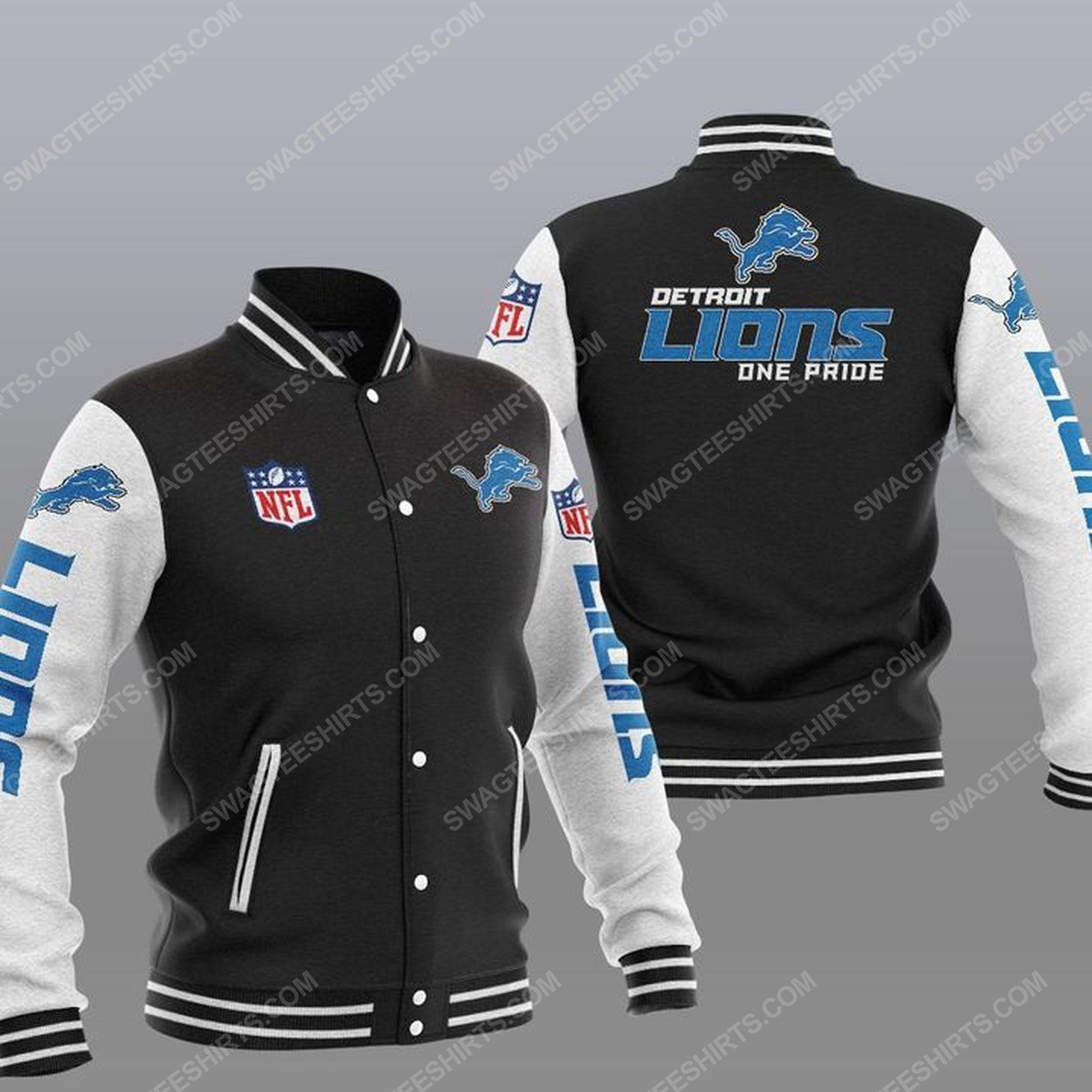 Detroit lions one pride all over print baseball jacket - black 1