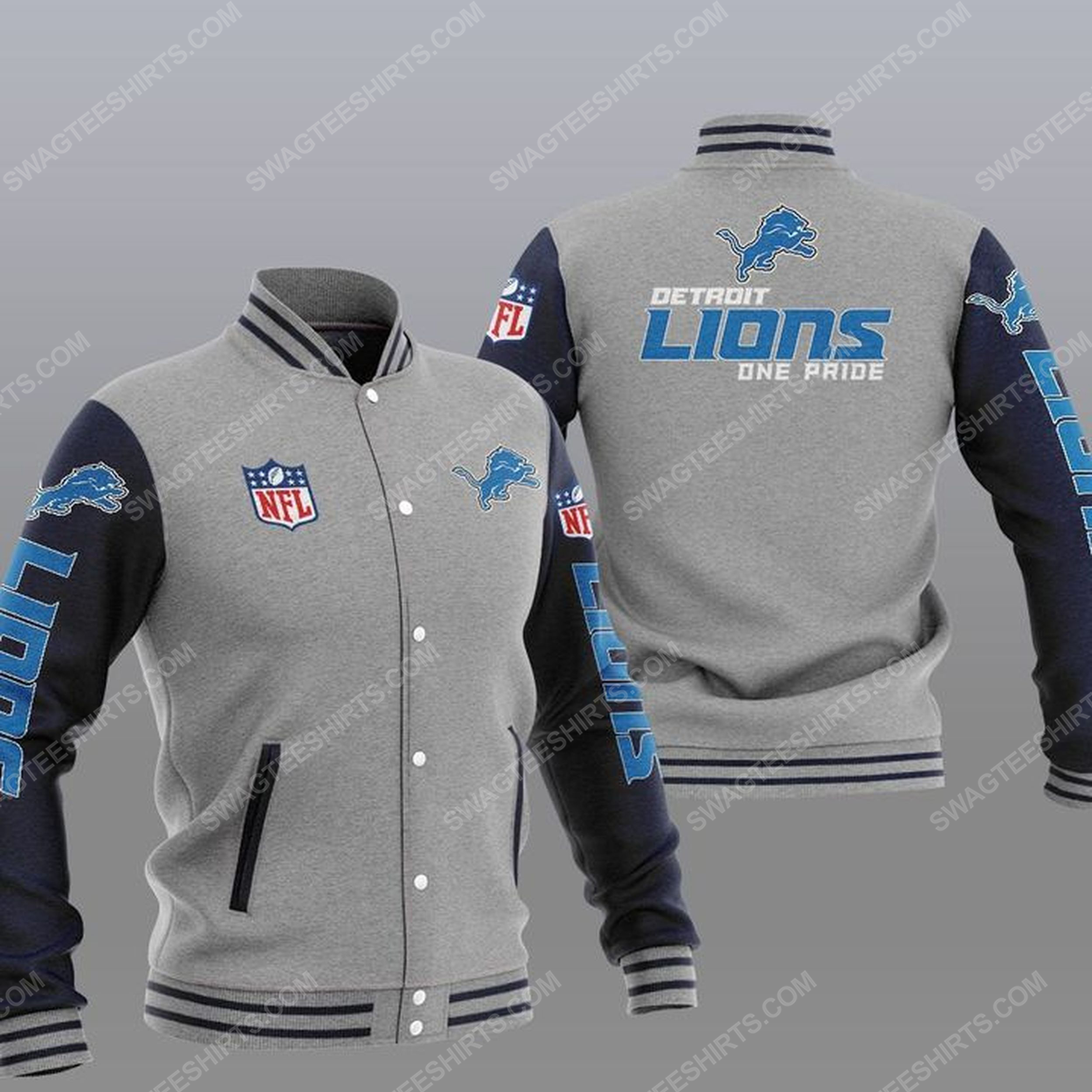 Detroit lions one pride all over print baseball jacket - gray 1