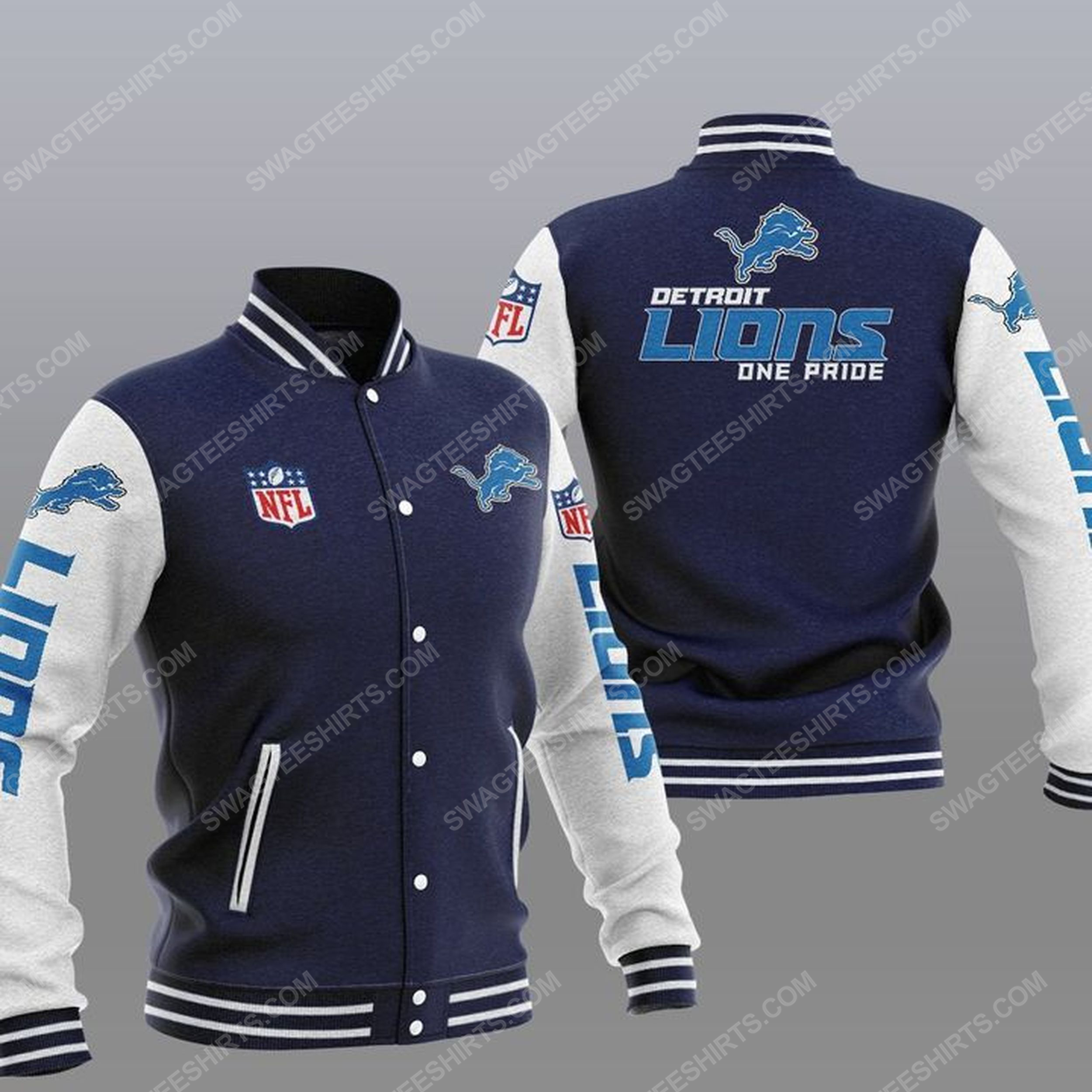 Detroit lions one pride all over print baseball jacket - navy 1