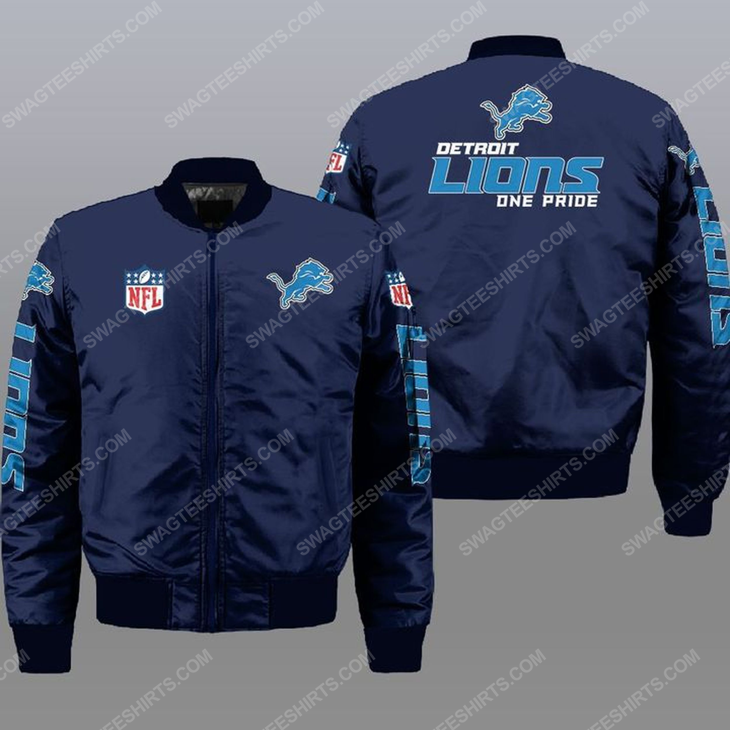 Detroit lions one pride all over print bomber jacket -navy 1