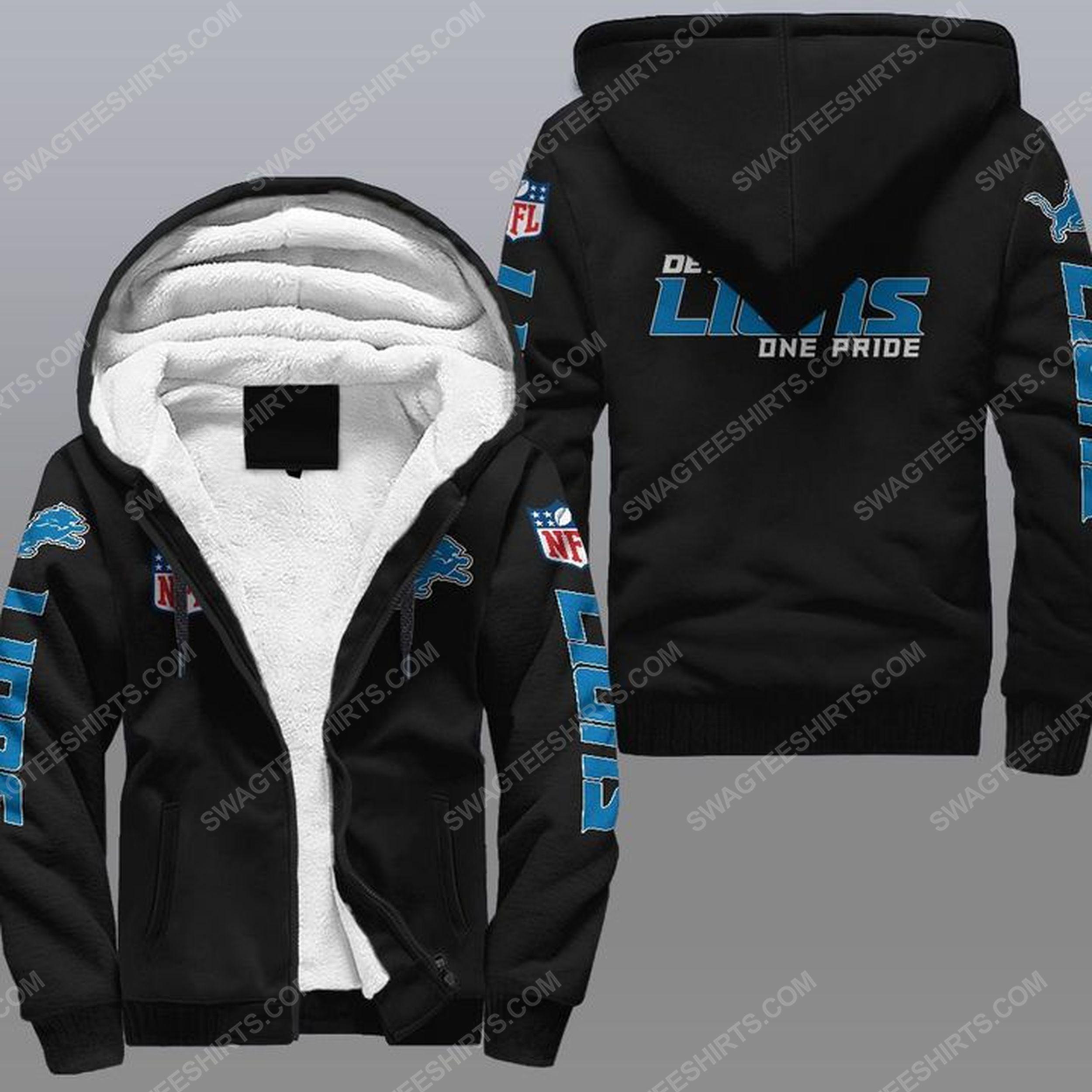 Detroit lions one pride all over print fleece hoodie - black 1