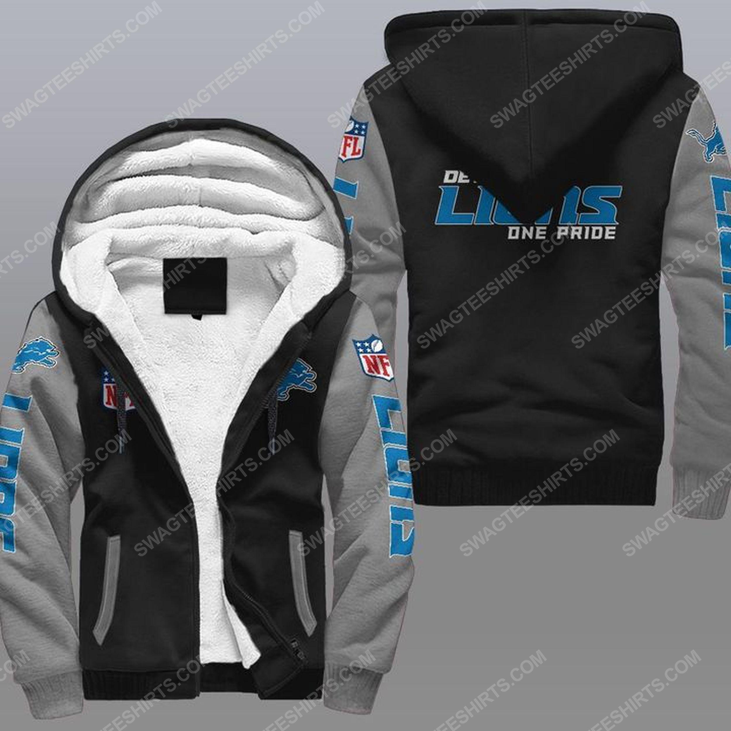 Detroit lions one pride all over print fleece hoodie - gray 1