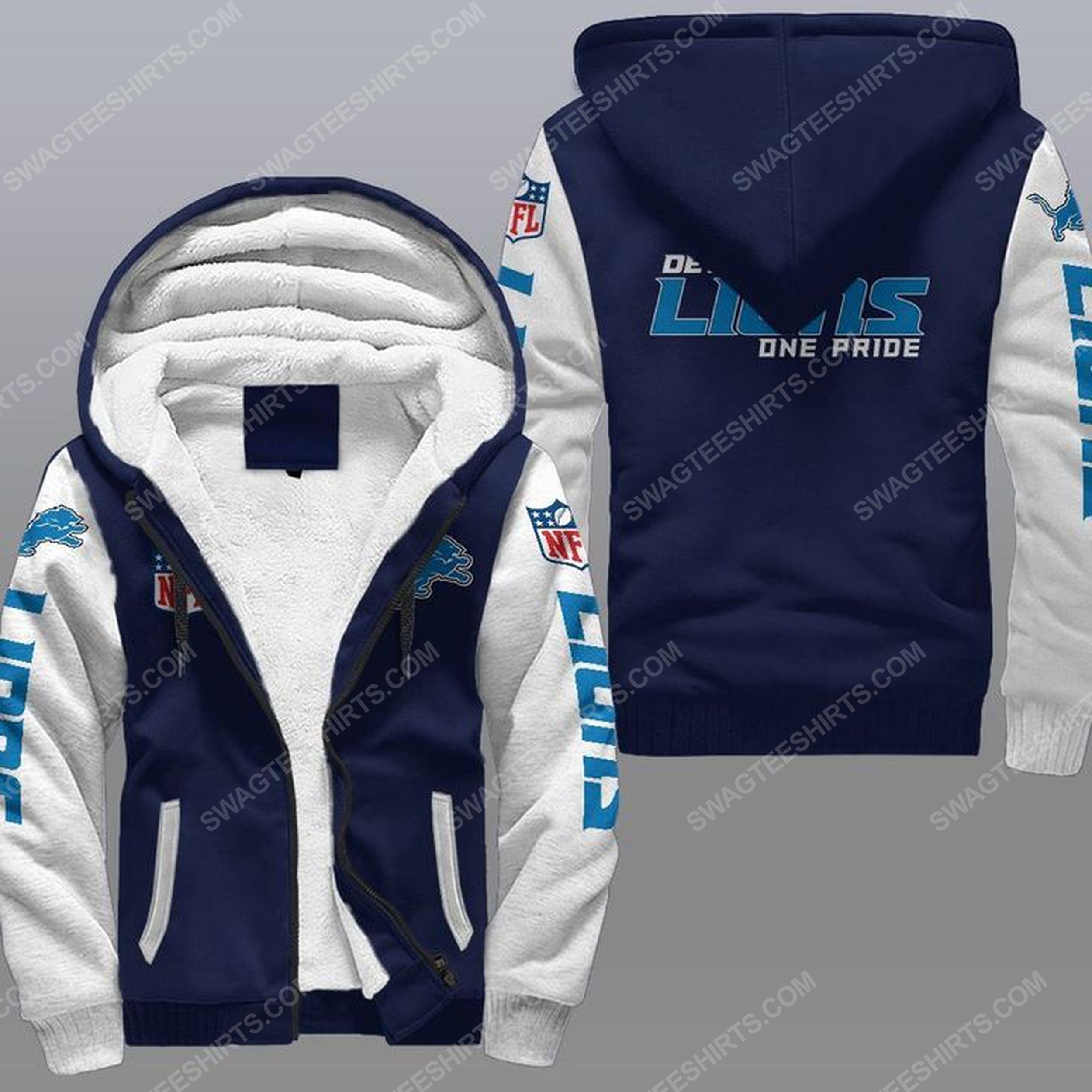 Detroit lions one pride all over print fleece hoodie - navy 1