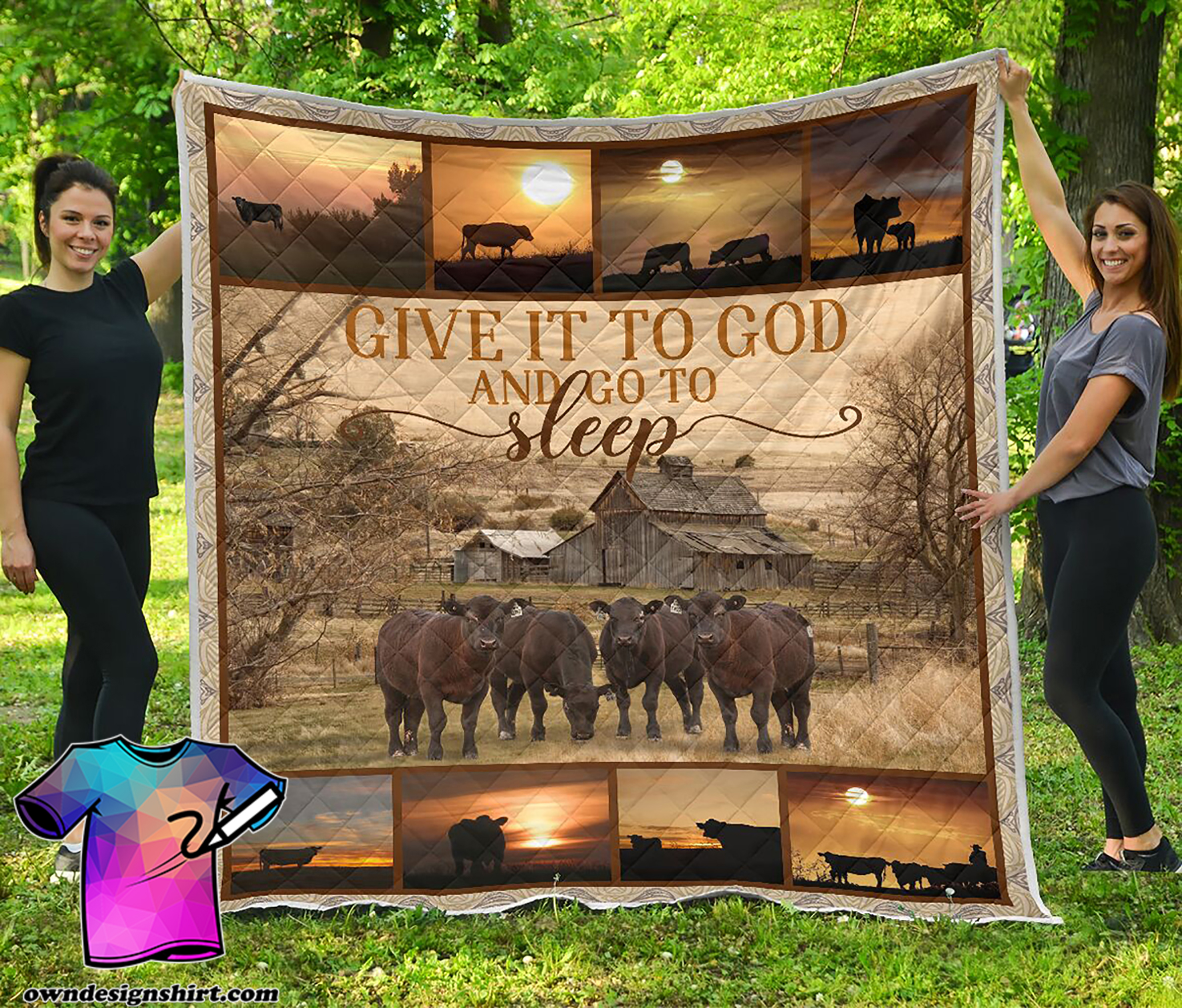 Give it to God and go to sleep farming full printing quilt