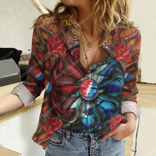 Grateful dead and roses fully printed poly cotton casual shirt 2(1) - Copy