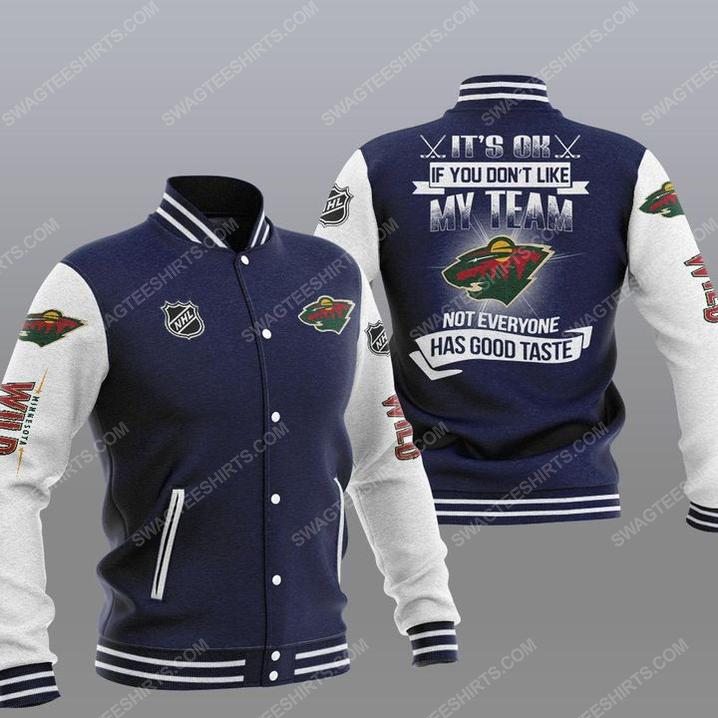 It's ok if you don't like my team minnesota wild all over print baseball jacket - navy 1