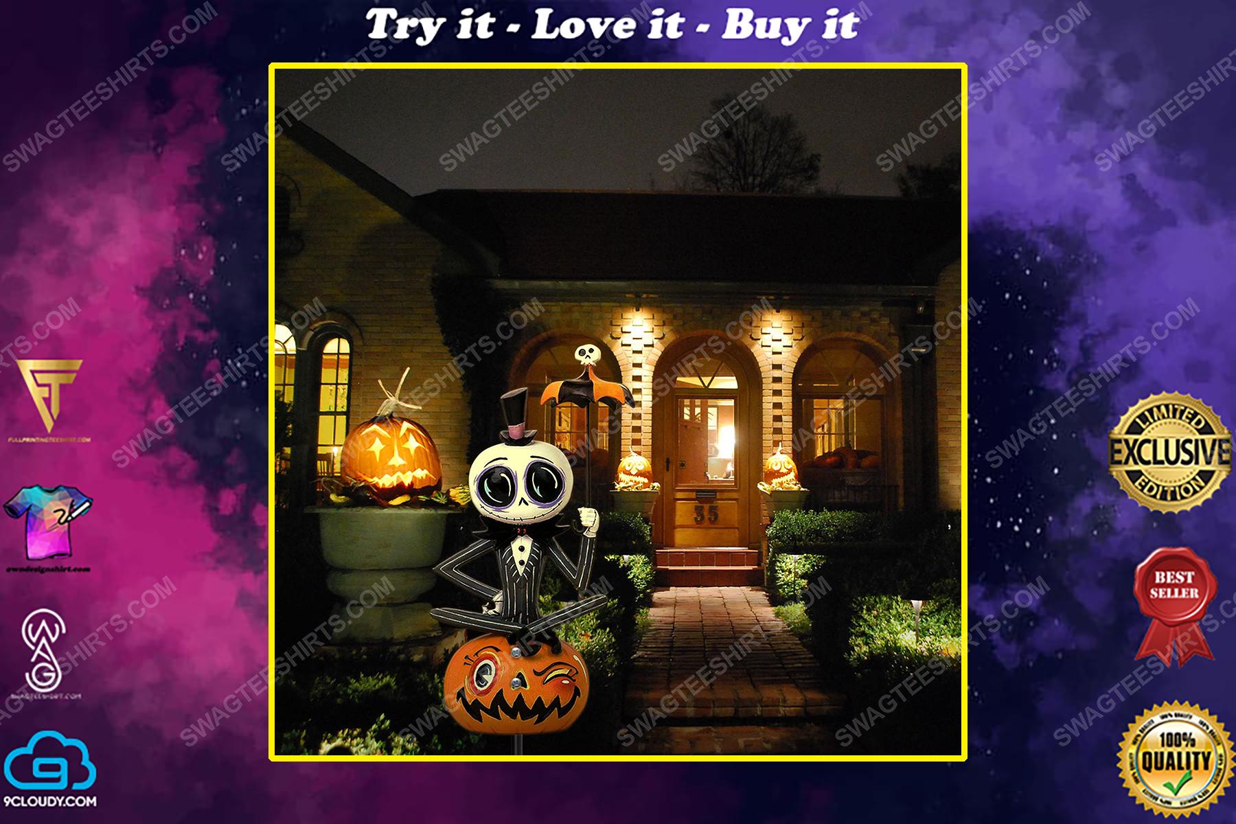 Jack skellington and pumpkin halloween yard sign